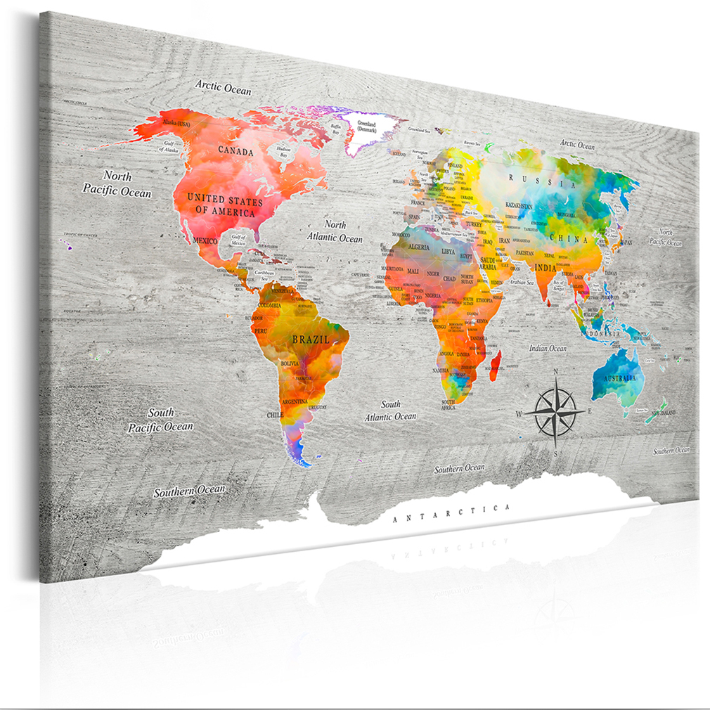 leinwand bilder weltkarte world map kontinente wandbilder xxl wohnzimmer 17 farb ebay. Black Bedroom Furniture Sets. Home Design Ideas