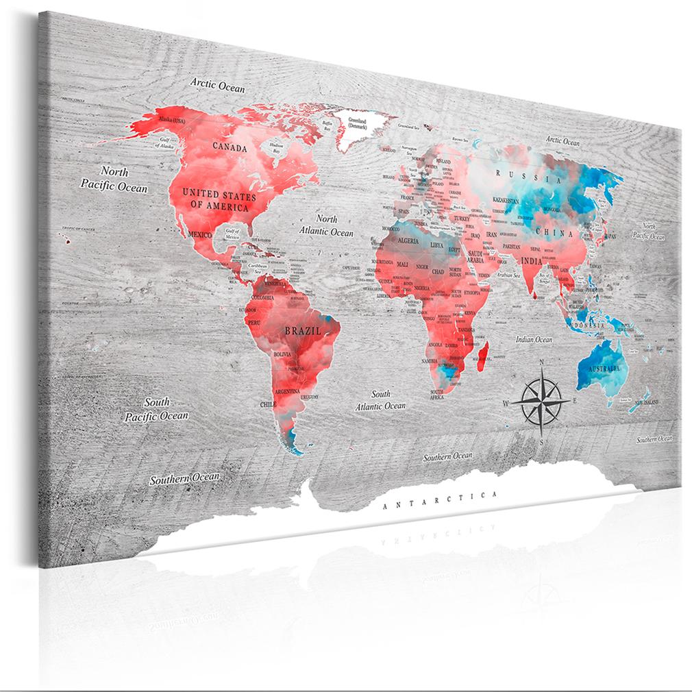 leinwand bilder weltkarte world map kontinente wandbilder xxl wohnzimmer 17 farb ebay. Black Bedroom Furniture Sets. Home Design Ideas