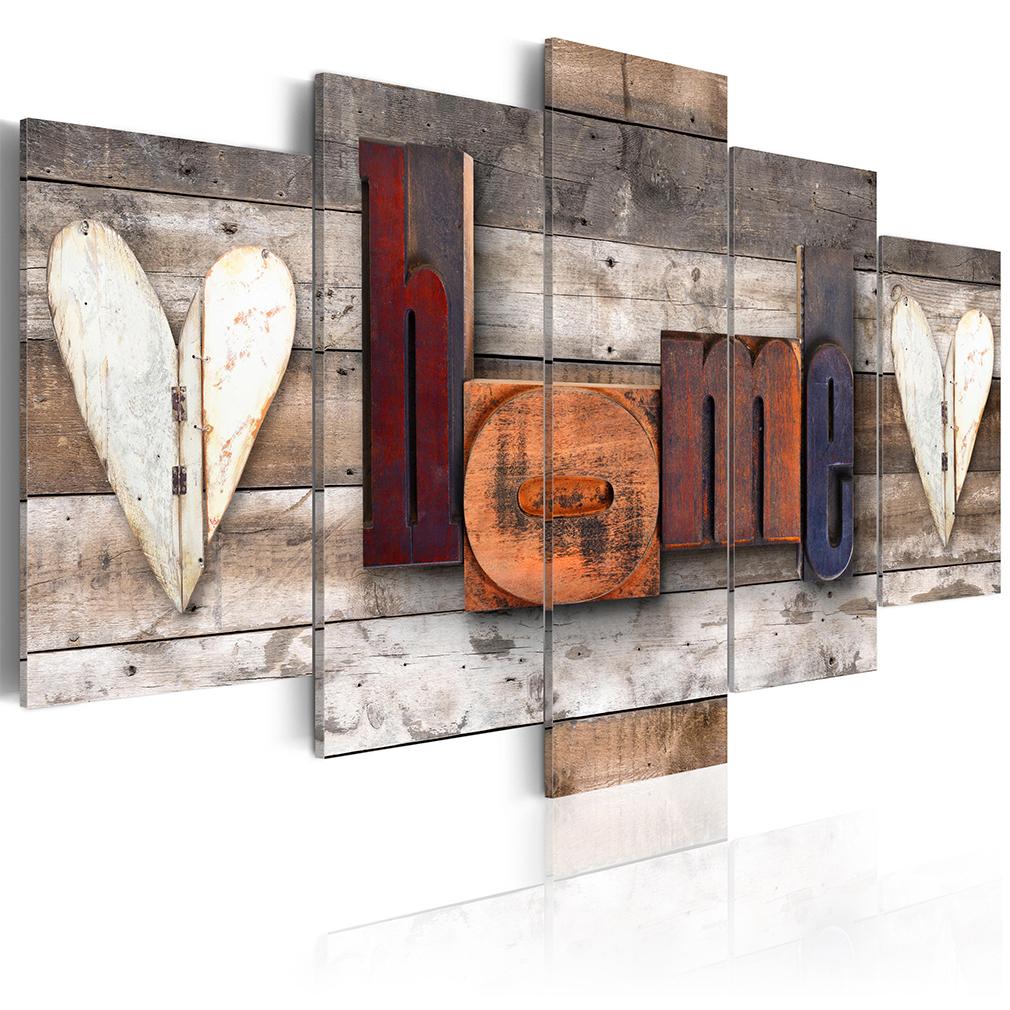 bilder leinwand bild home vintage retro rustikal holz haus wandbilder 15 farben ebay. Black Bedroom Furniture Sets. Home Design Ideas