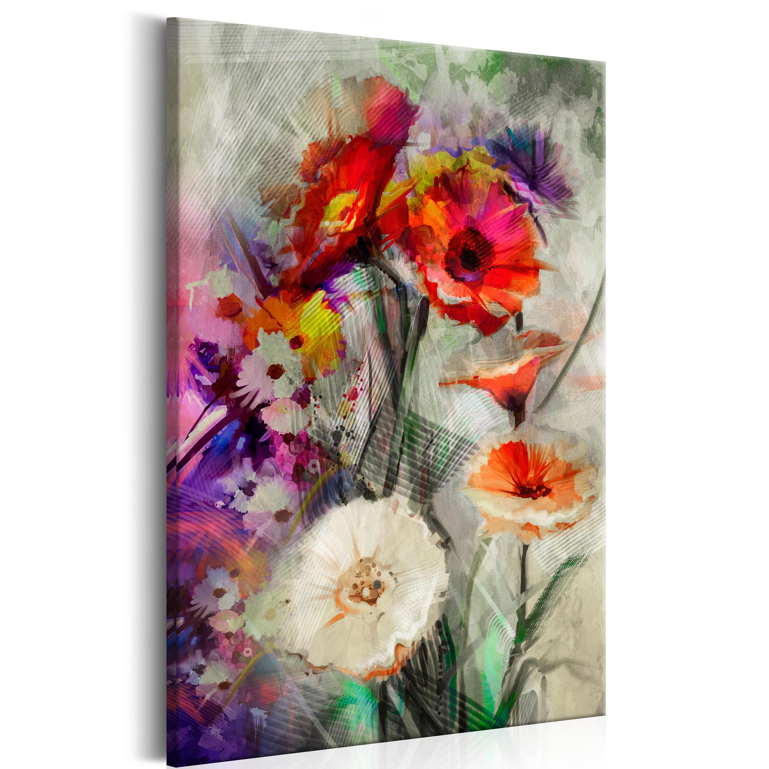 Leinwand bild blumen abstrakt bunt rosen wandbilder xxl for Wohnzimmer blumen