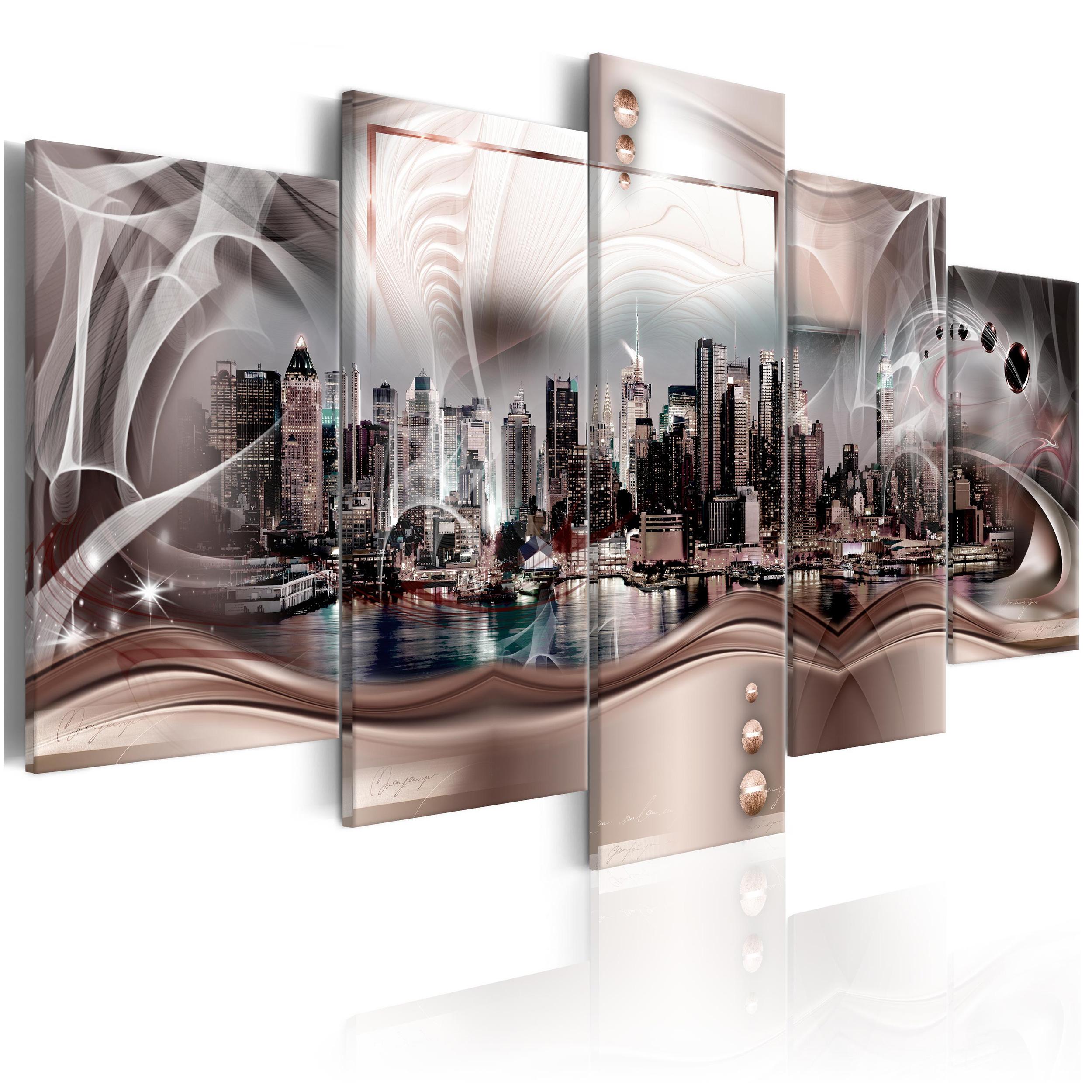 Leinwand bilder new york skyline abstrakt ornamente for Wandbilder wohnzimmer abstrakt