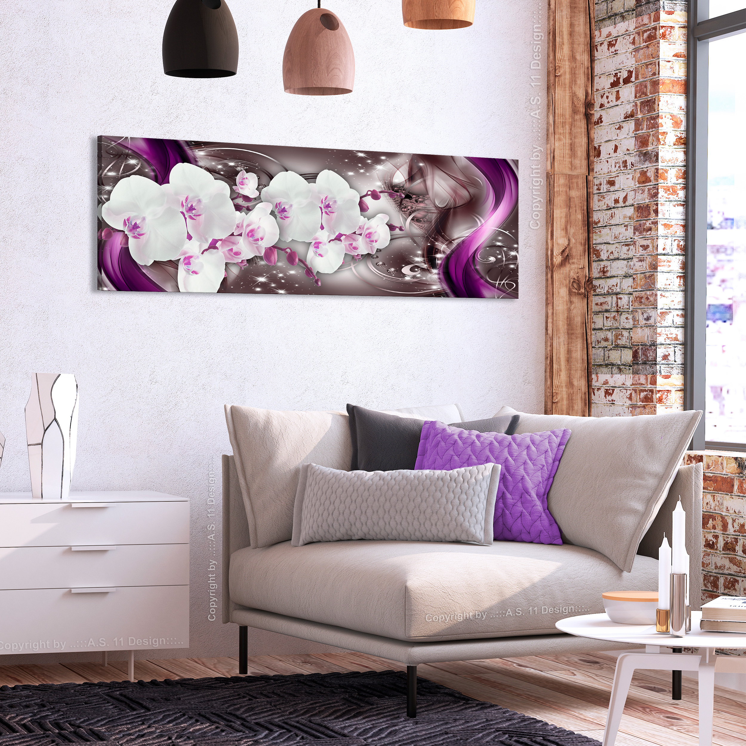 leinwand bilder blumen orchidee abstrakt nachtleuchte wandbilder xxl wohnzimmer ebay. Black Bedroom Furniture Sets. Home Design Ideas