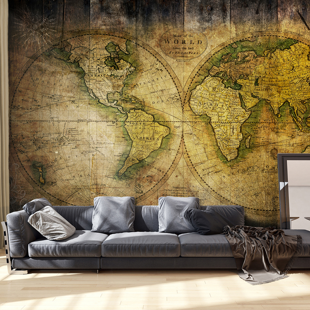 vlies fototapete weltkarte retro braun map antik tapete tapeten wandbild xxl ebay. Black Bedroom Furniture Sets. Home Design Ideas