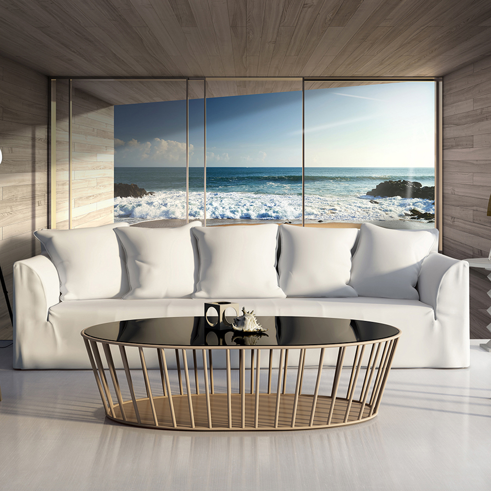 vlies fototapete strand meer fenster ausblick natur landschaft tapete wandbild ebay. Black Bedroom Furniture Sets. Home Design Ideas