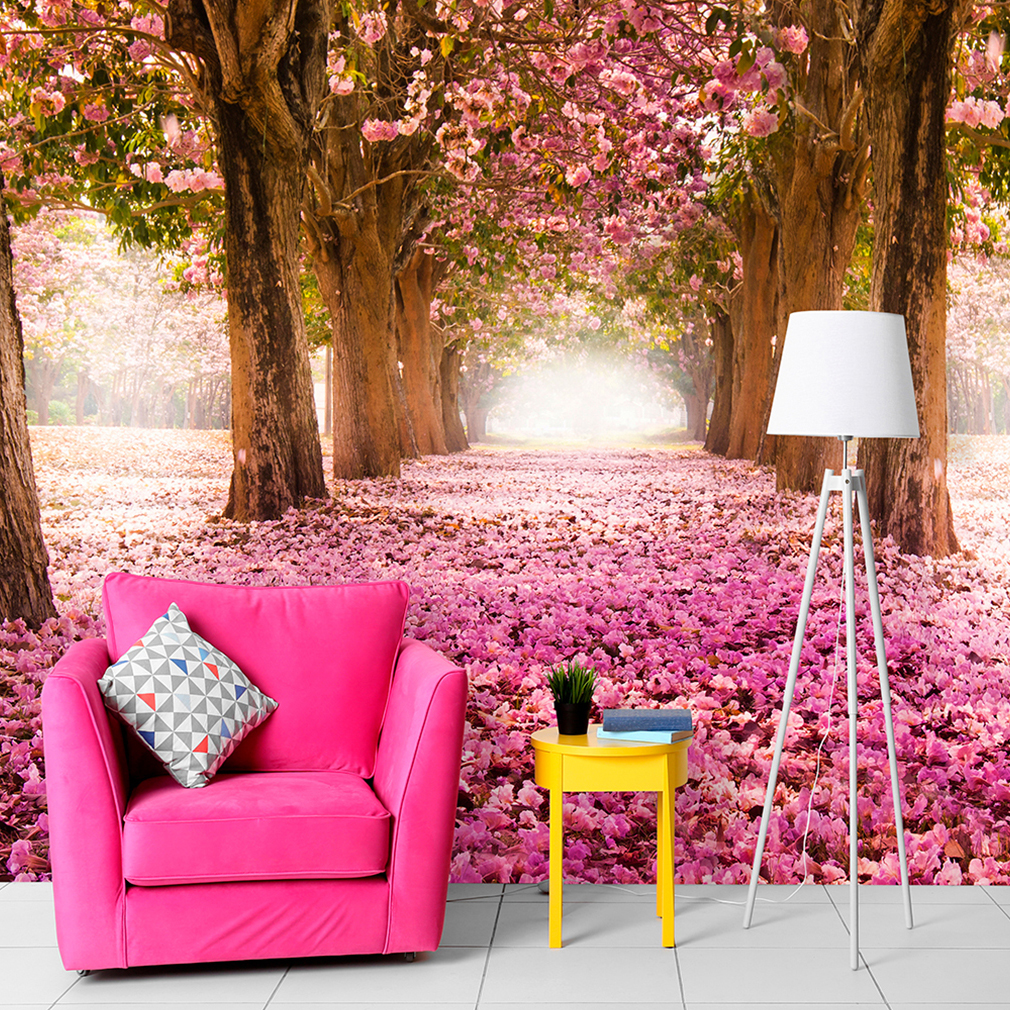 vlies fototapete wald blumen baum allee rosa landschaft natur tapete wandbild xl ebay. Black Bedroom Furniture Sets. Home Design Ideas