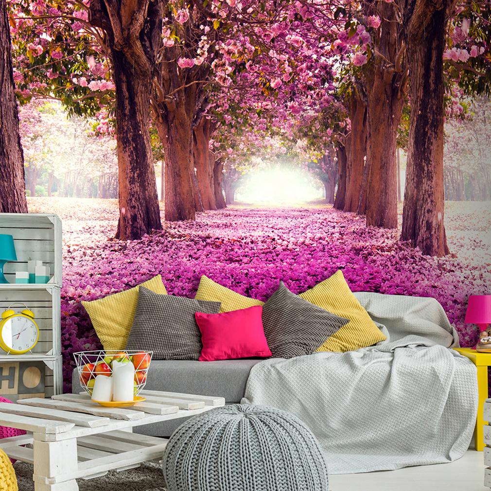 vlies fototapete wald blumen baum allee rosa landschaft. Black Bedroom Furniture Sets. Home Design Ideas