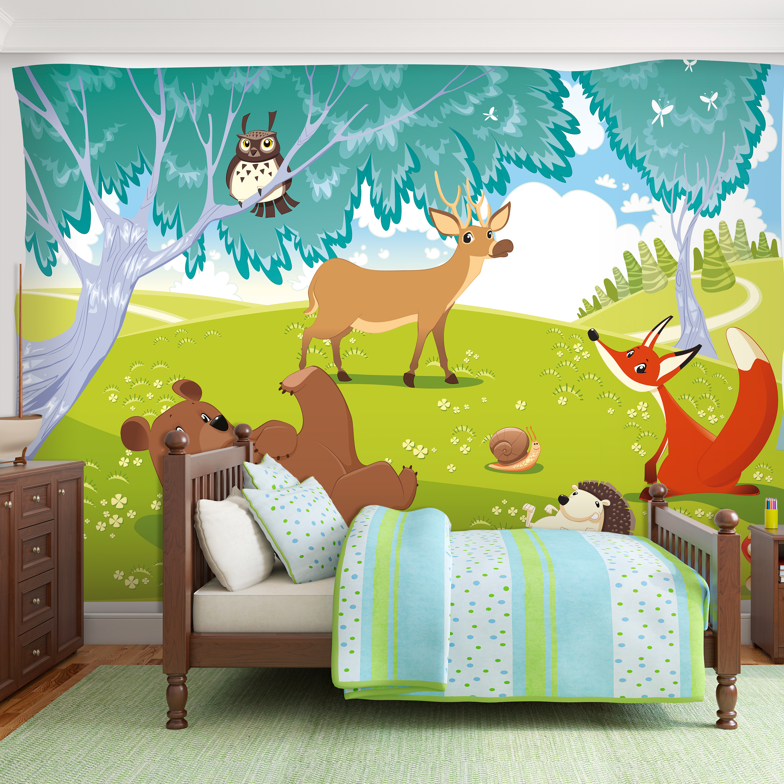 vlies fototapete tiere bear fuchs wald tapete kinderzimmer wandbilder xxl 039 ebay. Black Bedroom Furniture Sets. Home Design Ideas
