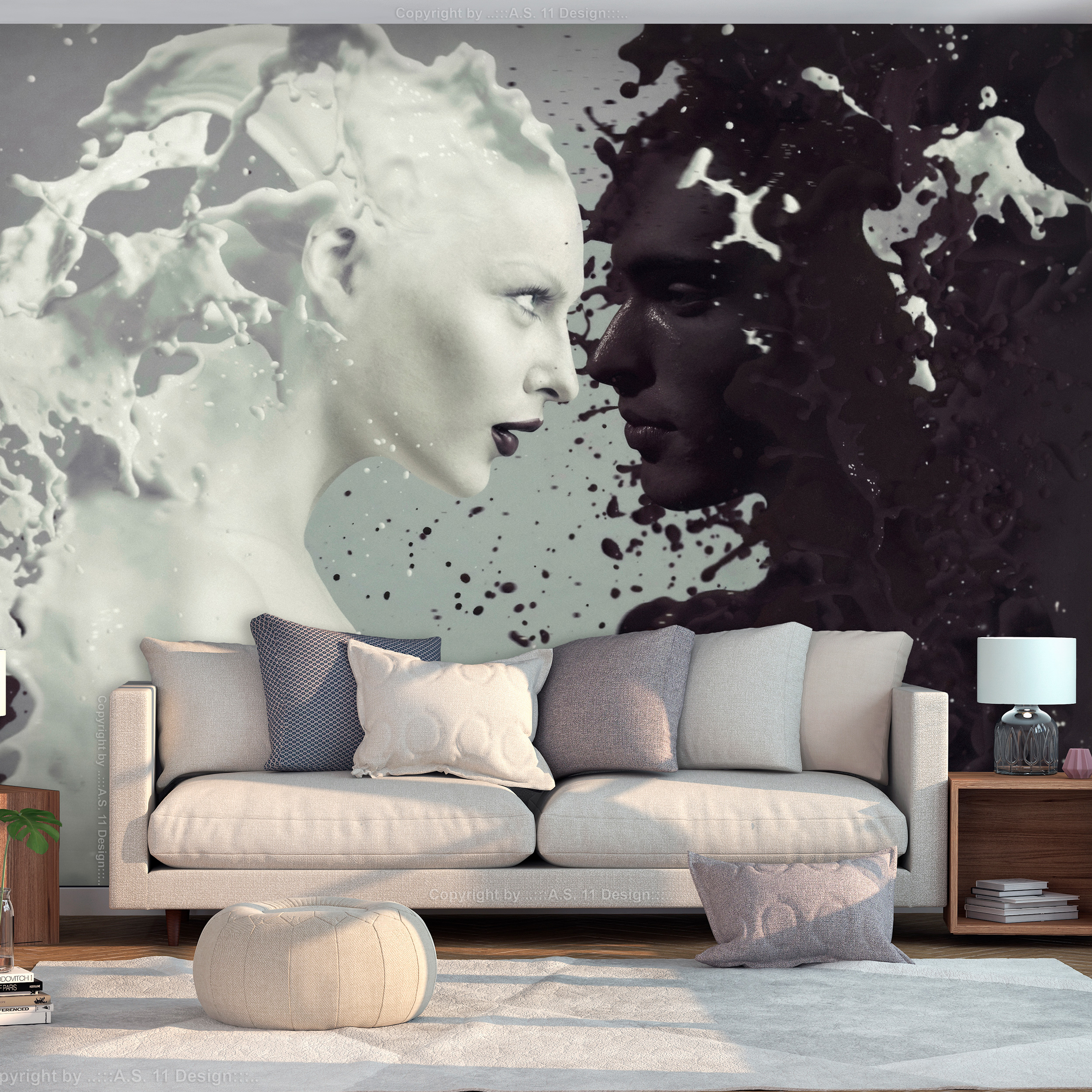 vlies fototapete abstrakt wei liebe paar schwarz grau tapete wandbilder xxl 042 ebay. Black Bedroom Furniture Sets. Home Design Ideas