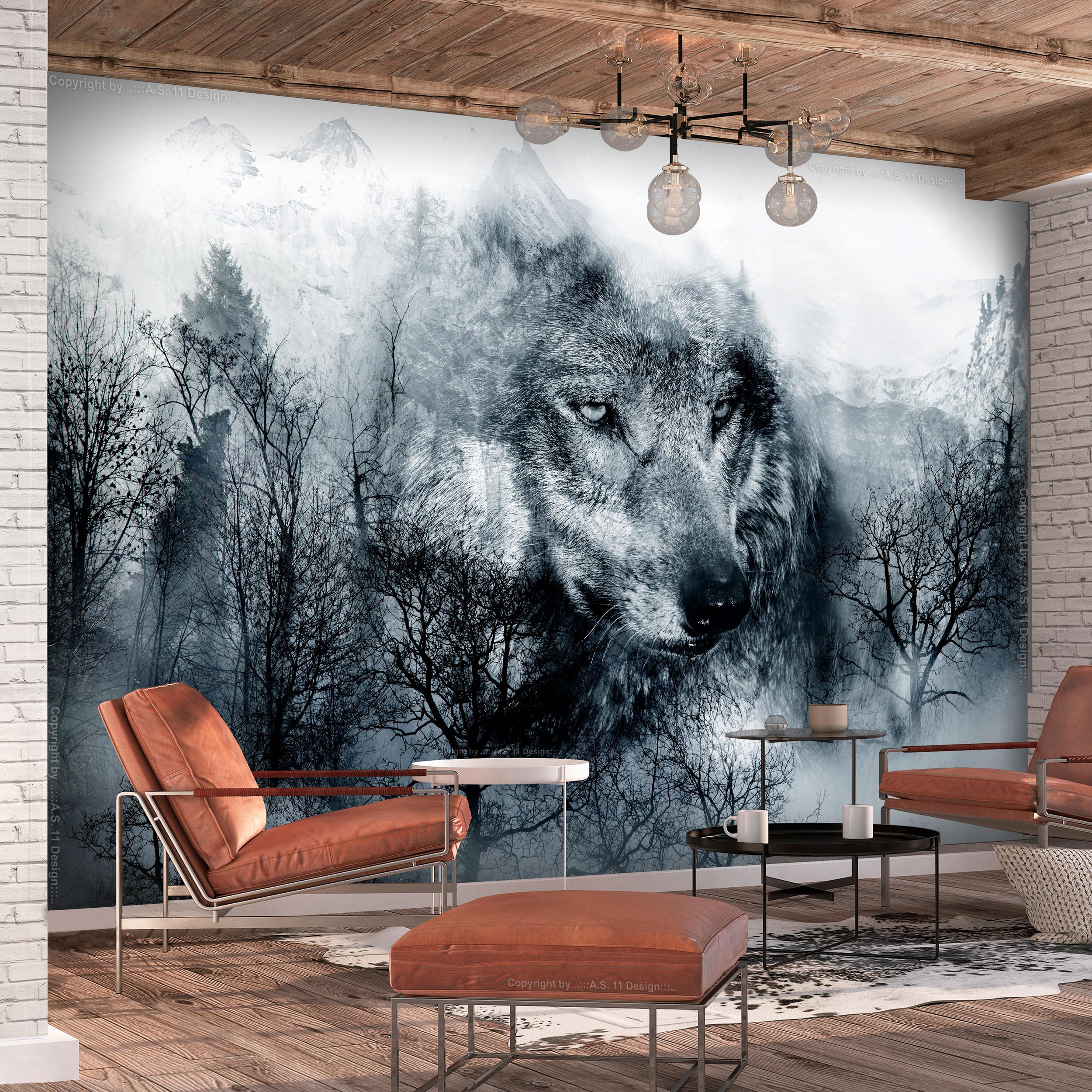 vlies fototapete wald gr n nebel landschaft wohnzimmer. Black Bedroom Furniture Sets. Home Design Ideas