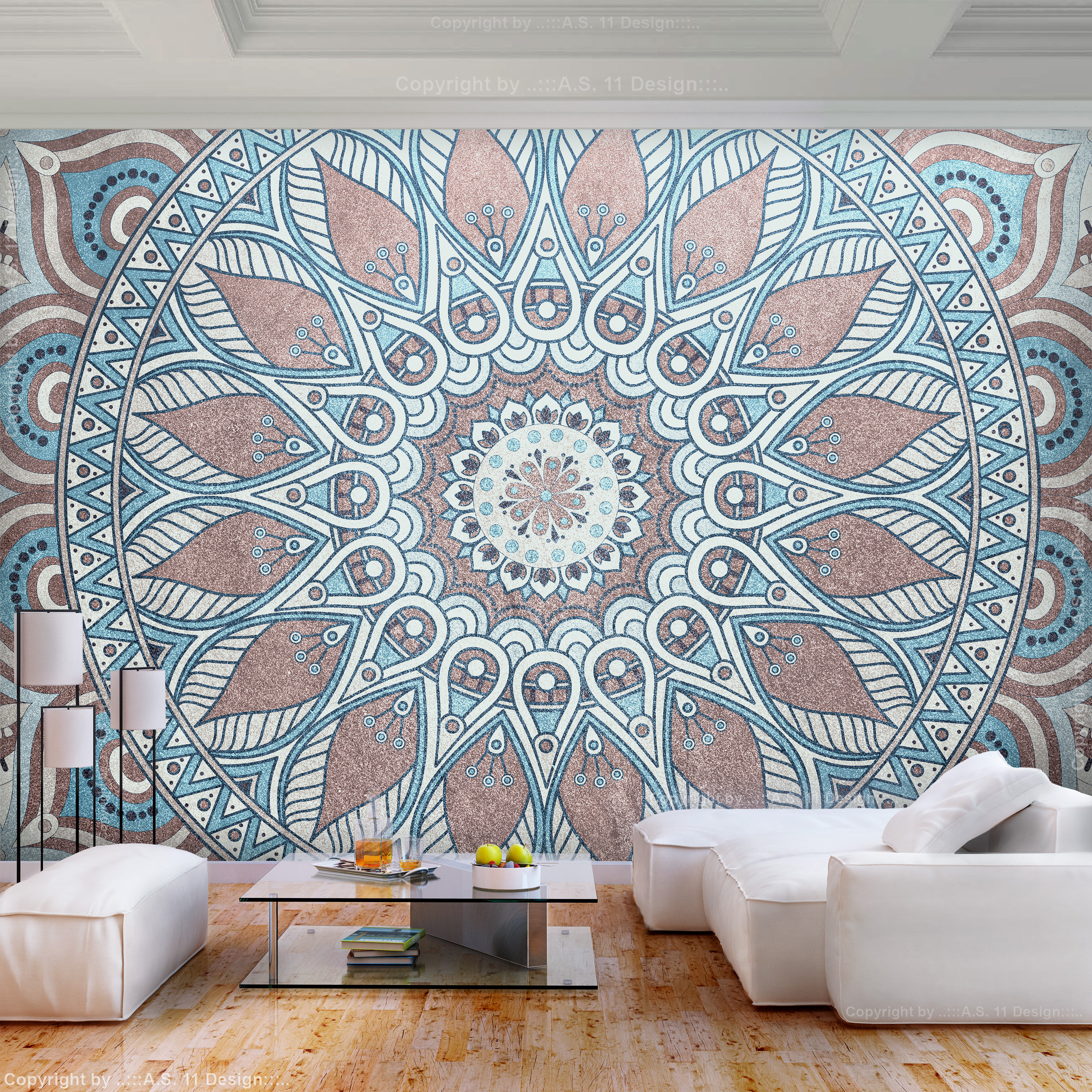 vlies fototapete mandala ornament braun blau tapete wandbilder xxl wohnzimmer 72 ebay. Black Bedroom Furniture Sets. Home Design Ideas