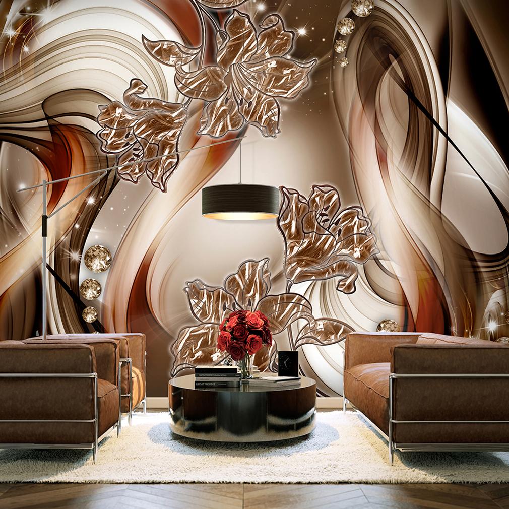 vlies fototapete blumen lilien abstrakt braun 3d effekt. Black Bedroom Furniture Sets. Home Design Ideas