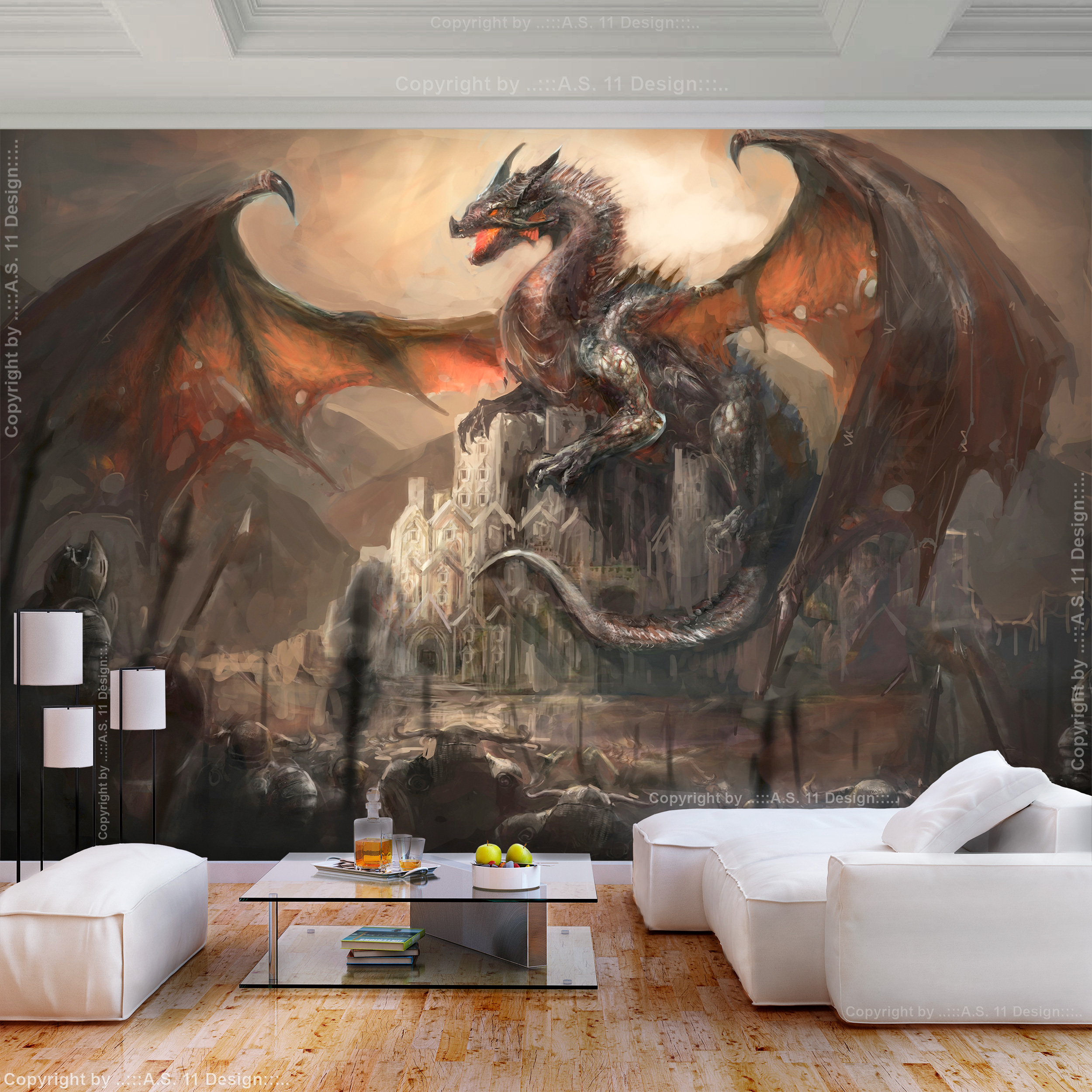 vlies fototapete drachen tapete fantasy goth 3d effekt. Black Bedroom Furniture Sets. Home Design Ideas