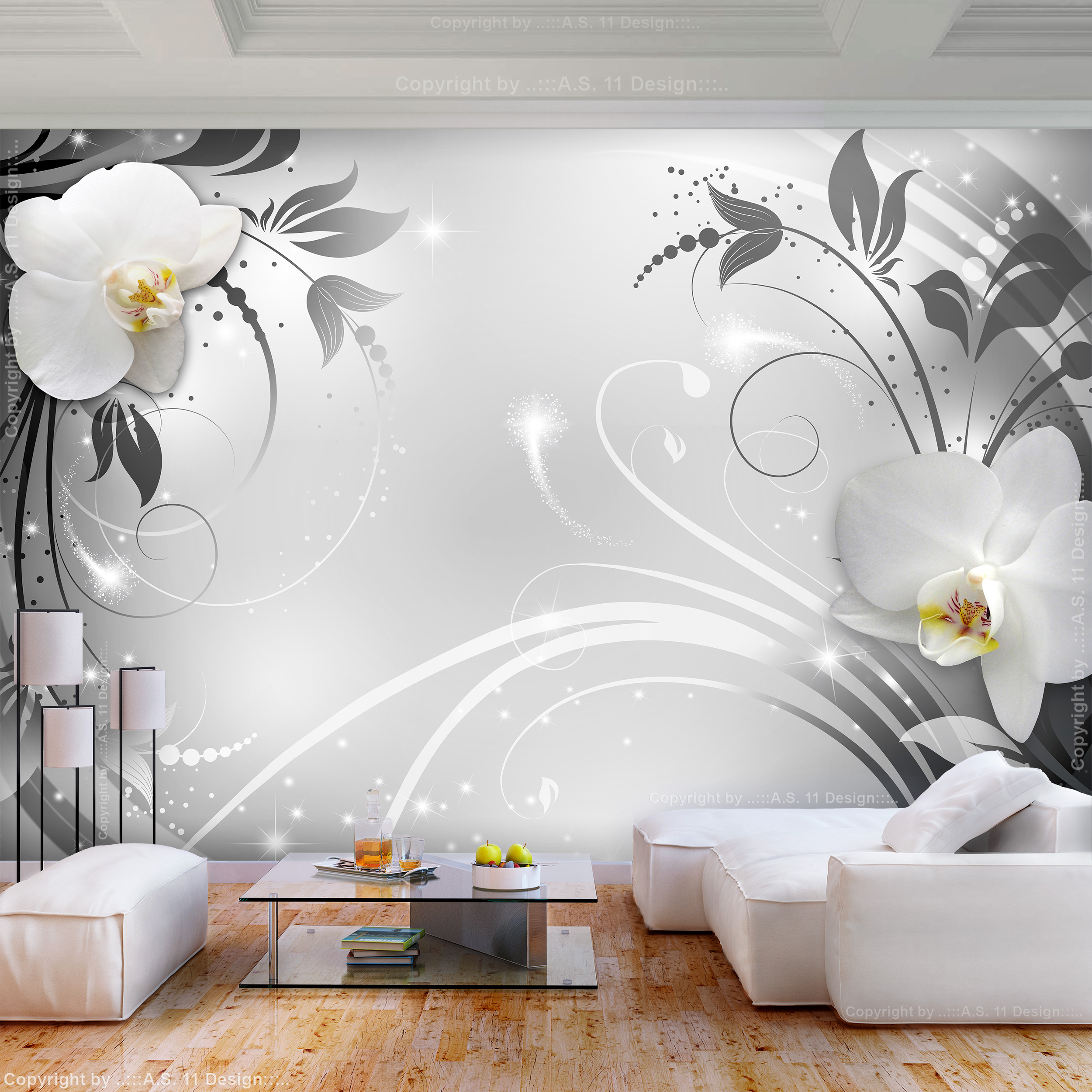 vlies fototapete 3d effekt blumen tapete schlafzimmer. Black Bedroom Furniture Sets. Home Design Ideas