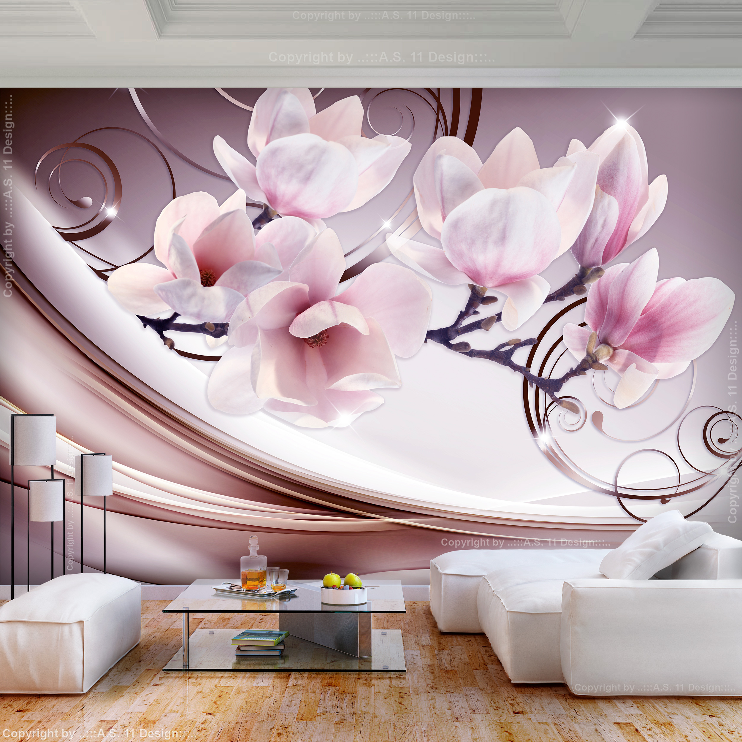VLIES FOTOTAPETE Magnolien Blumen rosa beige TAPETE WANDBILDER XXL ...