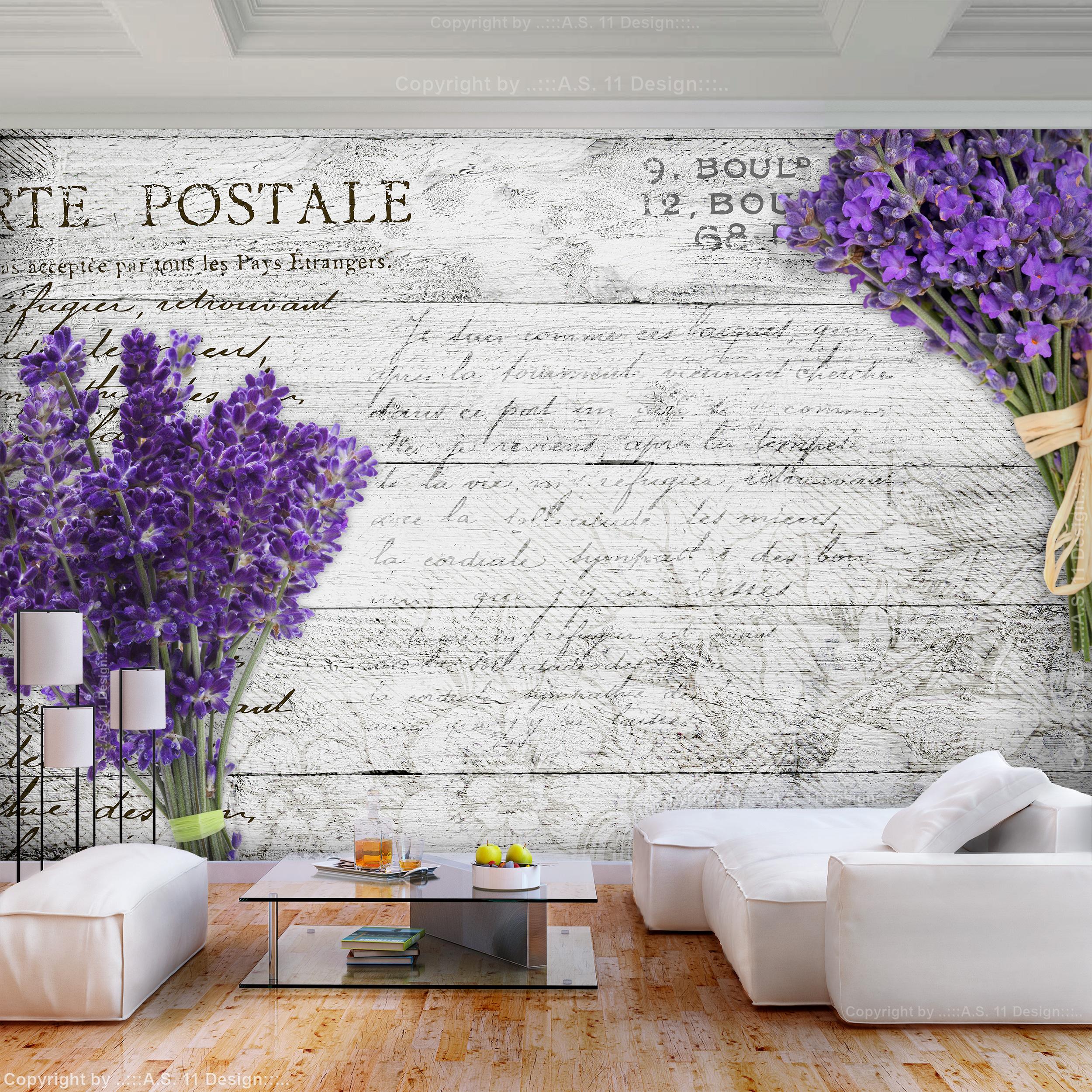 Wandtattoo Lavendel Blumen Pflanzen Schmetterlinge Wandsticker