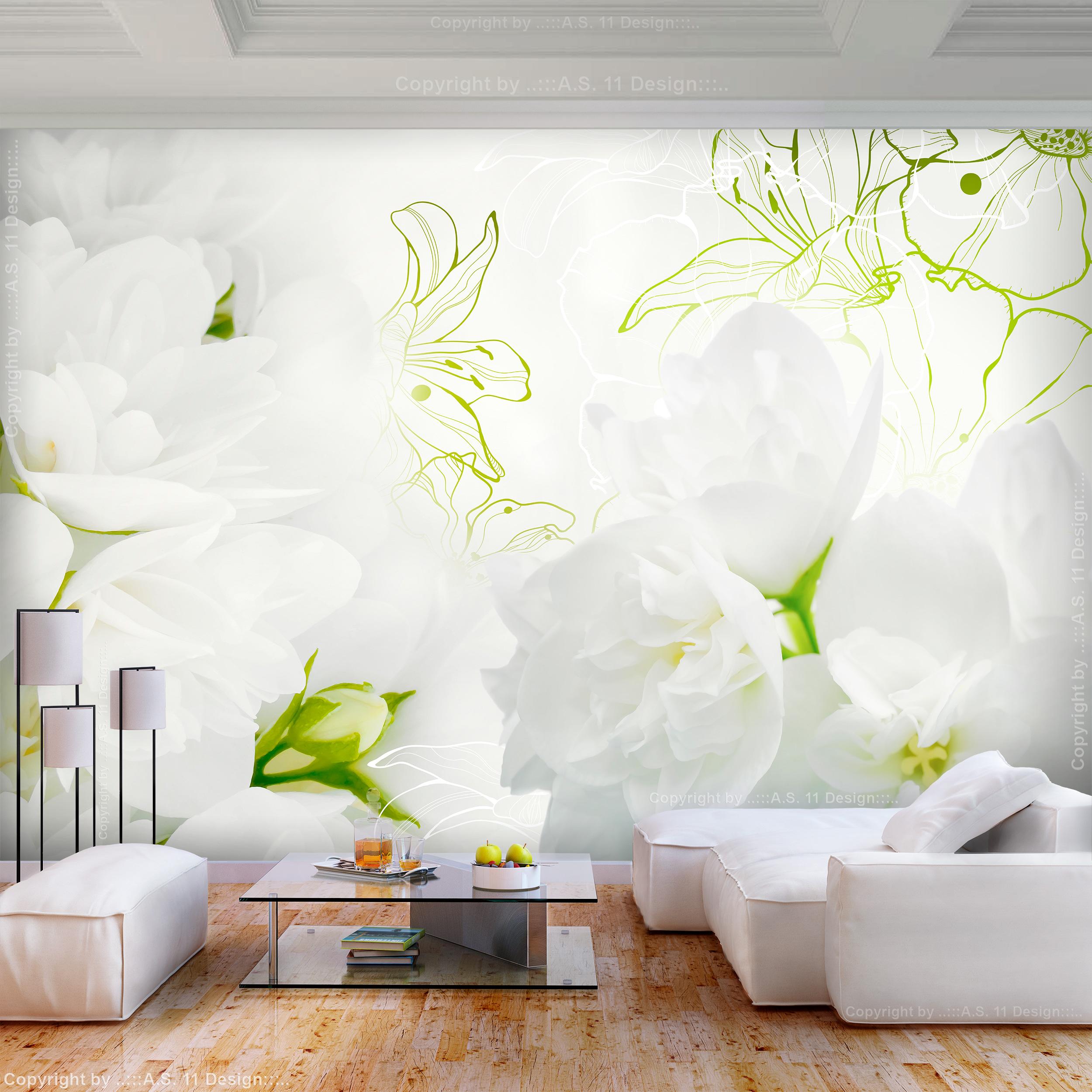 vlies fototapete blumen lilien wei 3d effekt tapete. Black Bedroom Furniture Sets. Home Design Ideas