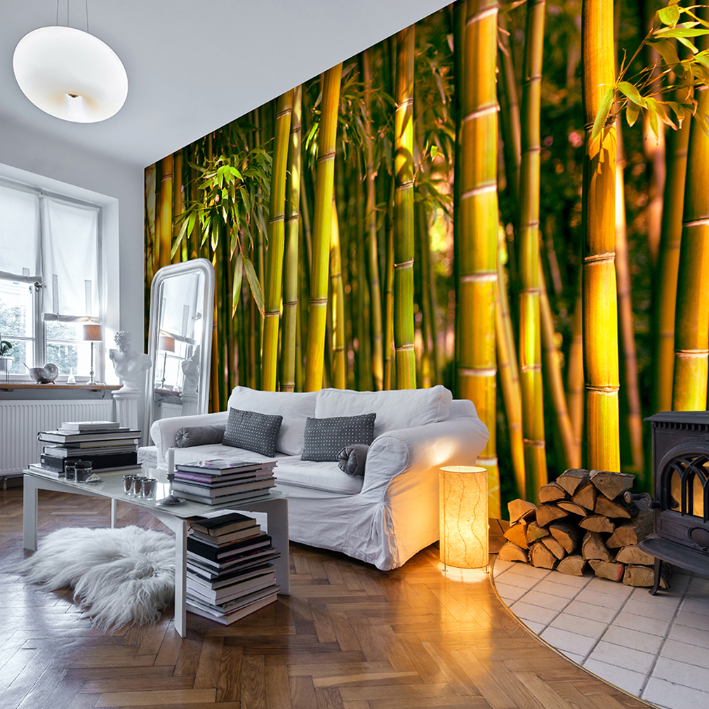 vlies fototapete wald asian bambus gr n landschaft tapete wohnzimmer wandbilder ebay. Black Bedroom Furniture Sets. Home Design Ideas