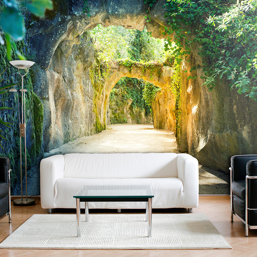 vlies fototapete 3d tunnel gr n natur landschaft tapete stein wandbild xxl ebay. Black Bedroom Furniture Sets. Home Design Ideas