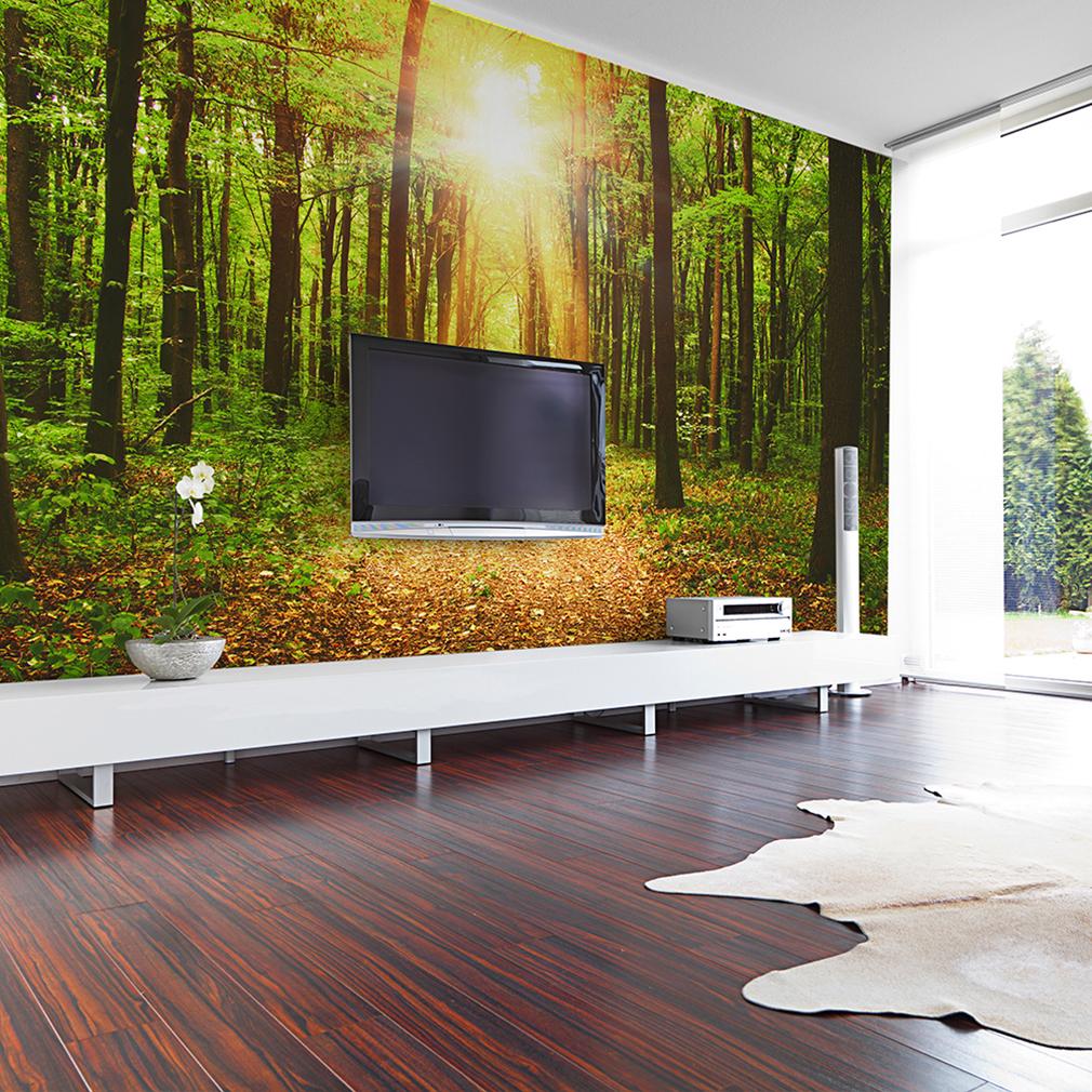 vlies fototapete wald sonne tapete tapeten schlafzimmer wandbild xxl fob0074 ebay. Black Bedroom Furniture Sets. Home Design Ideas