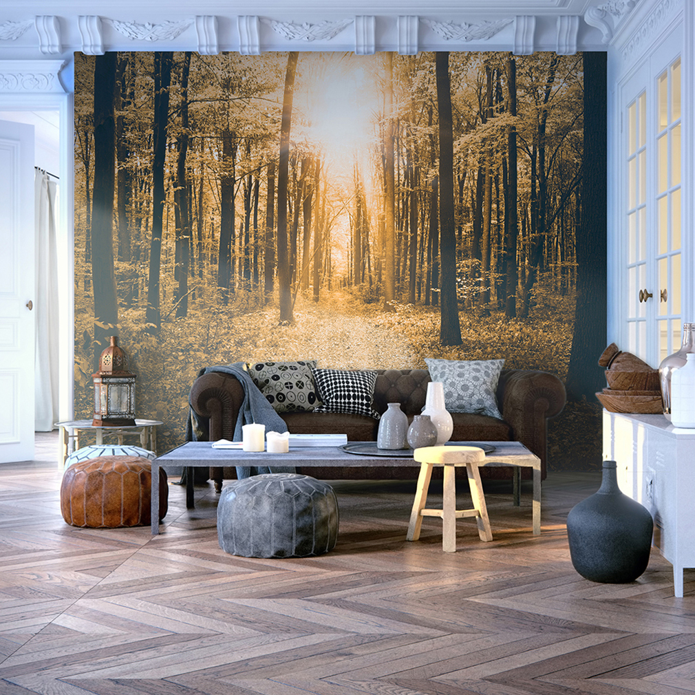 vlies fototapete wald sonne tapete tapeten schlafzimmer wandbild xxl fob0074 ebay. Black Bedroom Furniture Sets. Home Design Ideas