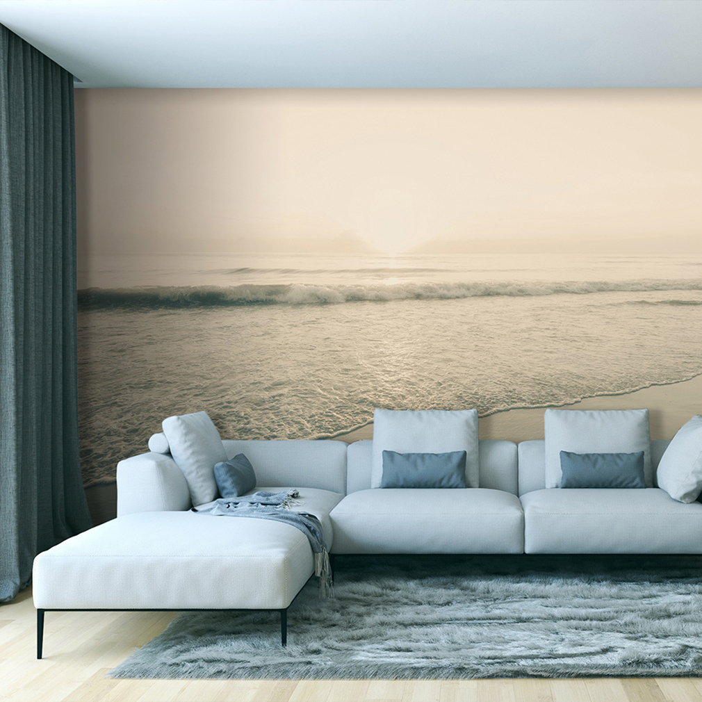 vlies fototapete strand meer grau himmel tapete wohnzimmer wandbilder xxl 077 ebay. Black Bedroom Furniture Sets. Home Design Ideas