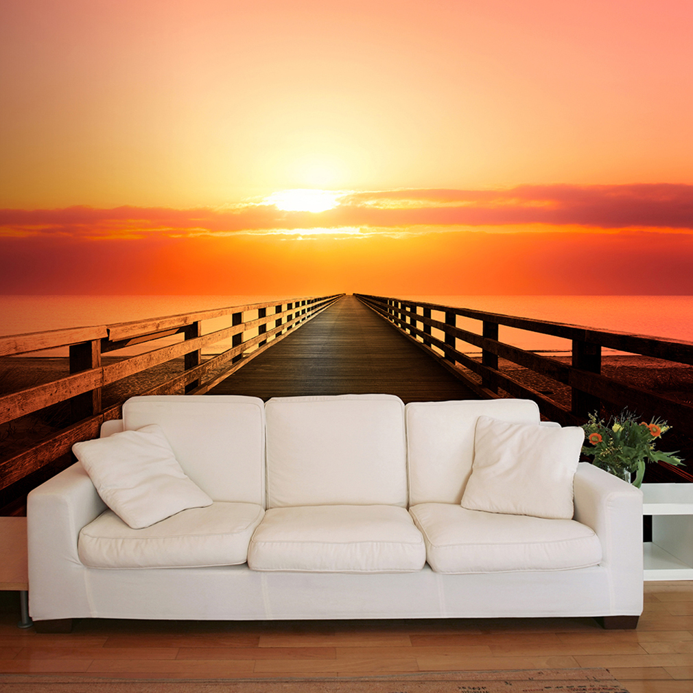 vlies fototapete sonnenuntergang meer rot tapete tapeten schlafzimmer wandbild ebay. Black Bedroom Furniture Sets. Home Design Ideas