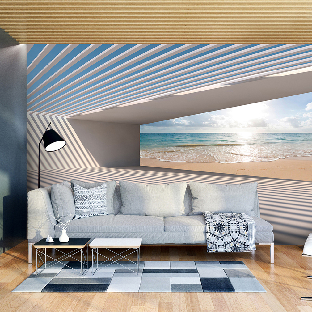 vlies fototapete strand meer 3d effekt tunnel tapete wohnzimmer wandbilder xxl ebay. Black Bedroom Furniture Sets. Home Design Ideas