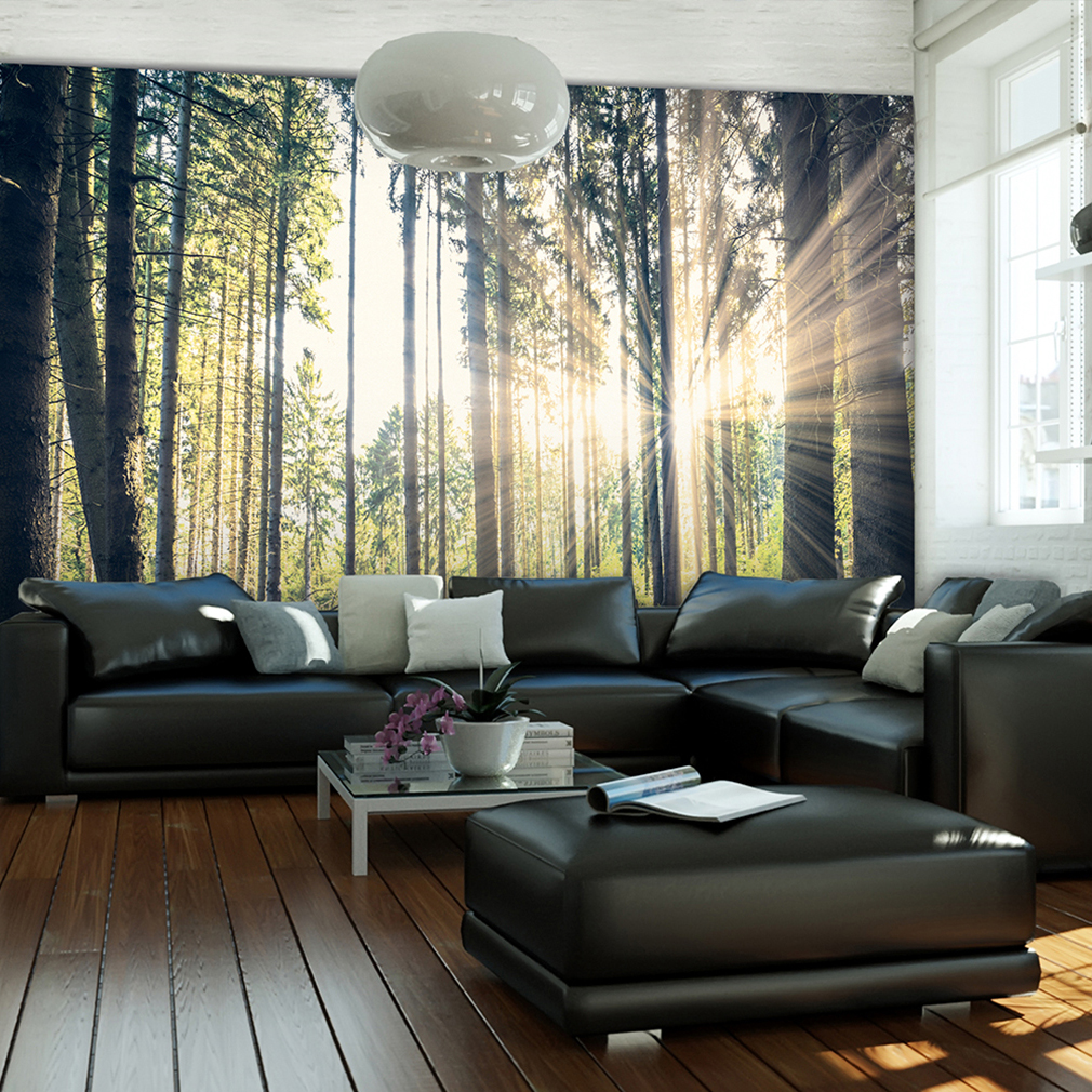 vlies fototapete wald sonne landschaft gr n tapete wandbilder xxl wohnzimmer 083 ebay. Black Bedroom Furniture Sets. Home Design Ideas
