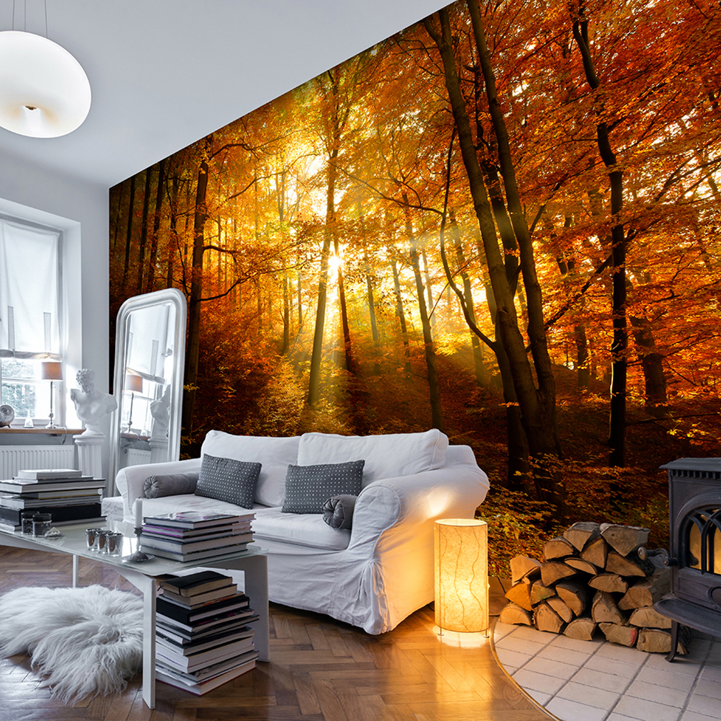 vlies fototapete wald sonne gold natur baum tapete wandbilder xxl wohnzimmer 91 ebay. Black Bedroom Furniture Sets. Home Design Ideas