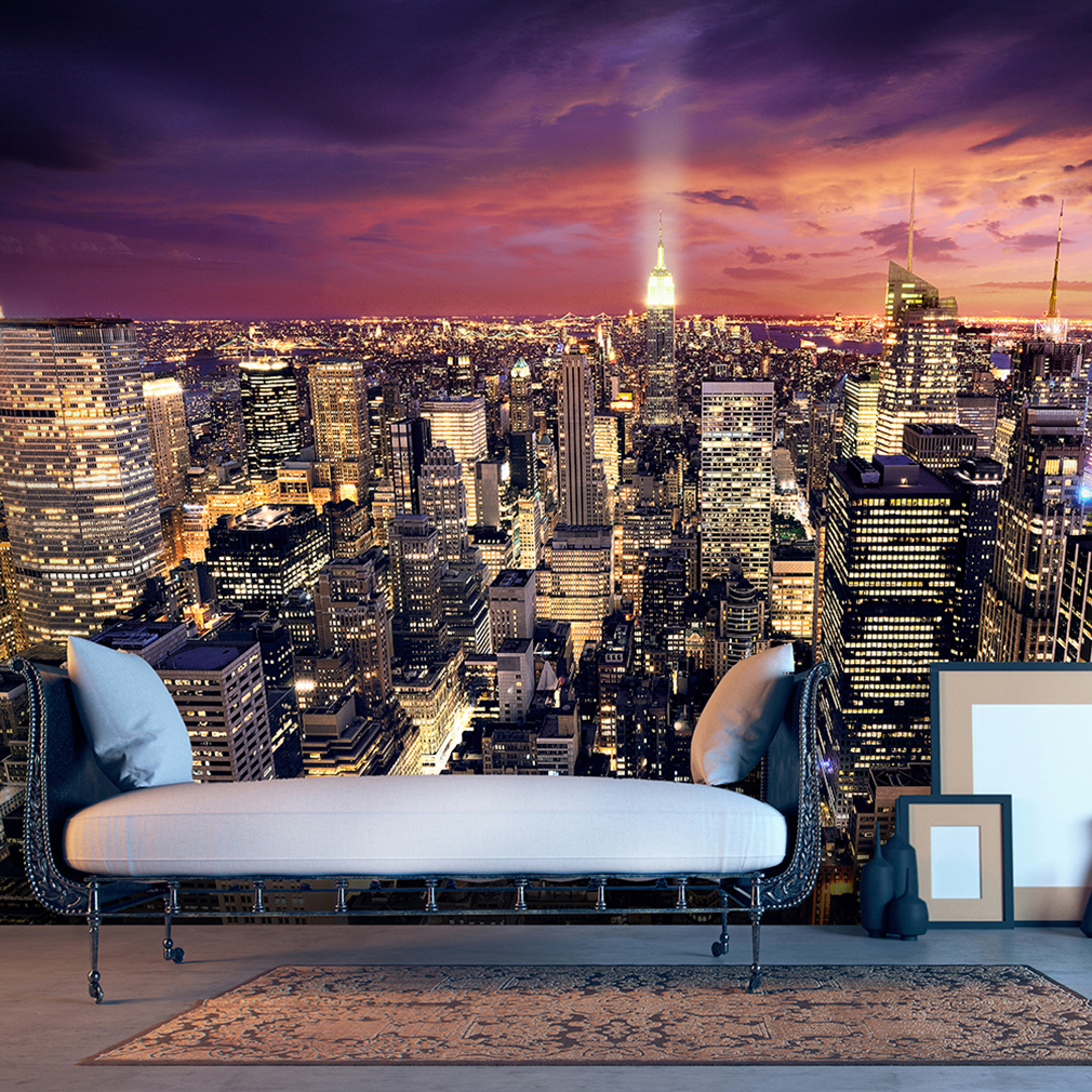 vlies fototapete new york skyline nacht blau violett tapete wandbild 12 farben ebay. Black Bedroom Furniture Sets. Home Design Ideas