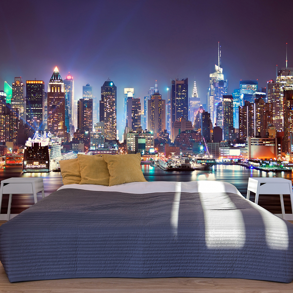 vlies fototapete new york skyline nacht blau tapete. Black Bedroom Furniture Sets. Home Design Ideas