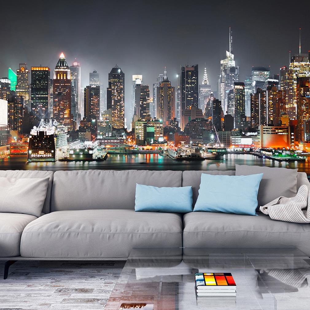 vlies fototapete new york skyline nacht blau violett. Black Bedroom Furniture Sets. Home Design Ideas