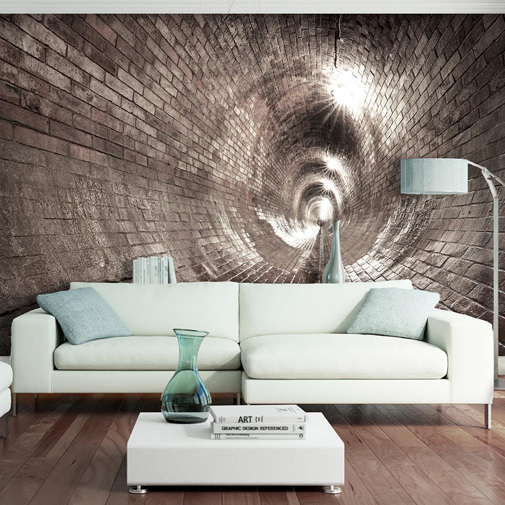 Vlies fototapete tunnel ziegel grau 3d effekt tapete for Wohnzimmer wandbilder
