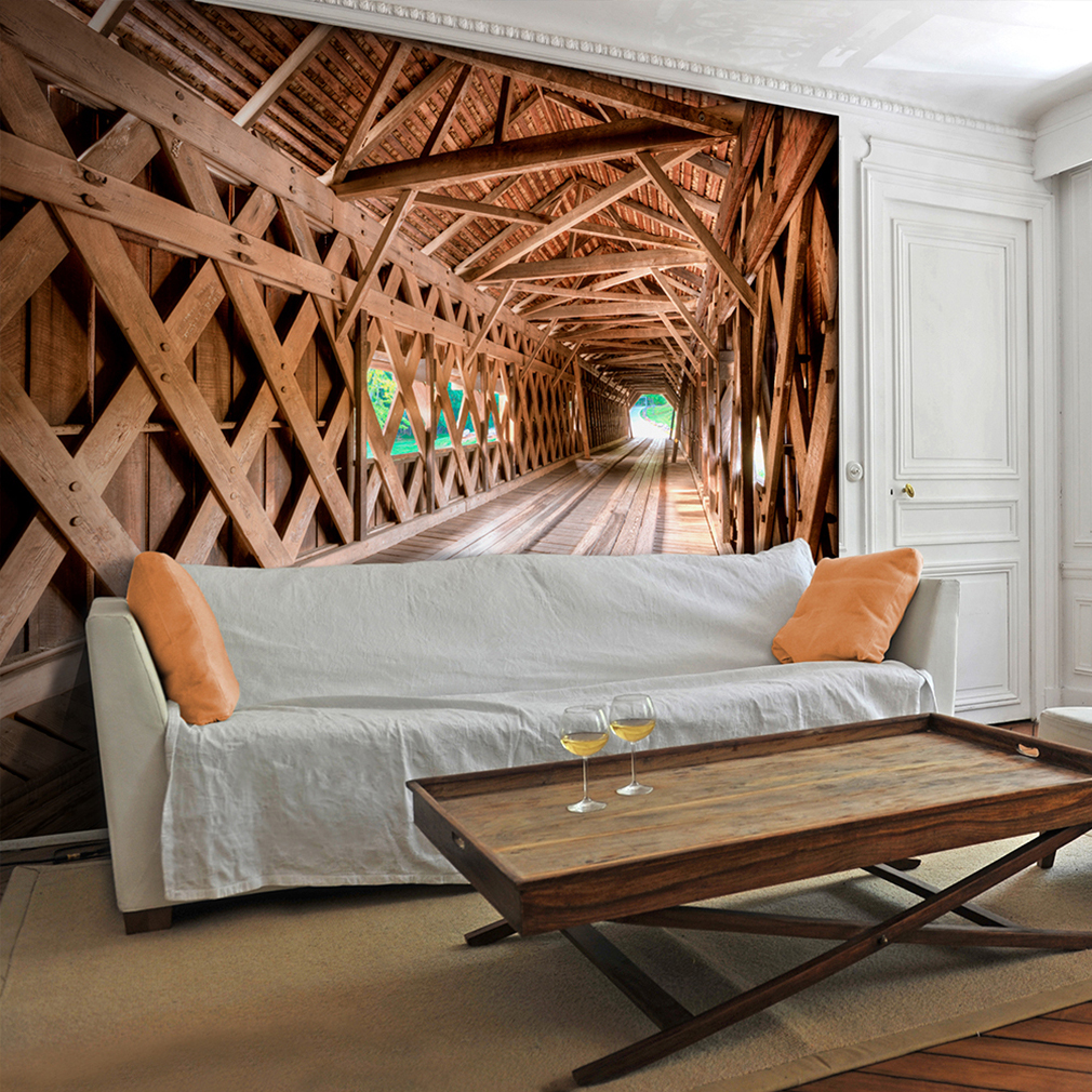 vlies fototapete 3d holz tunnel tapete tapeten schlafzimmer wandbild xl fob0110 ebay. Black Bedroom Furniture Sets. Home Design Ideas