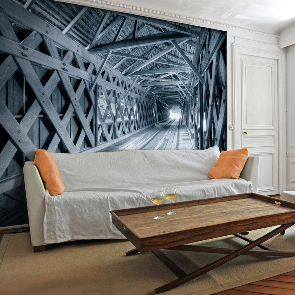 vlies fototapete 3d holz tunnel tapete tapeten. Black Bedroom Furniture Sets. Home Design Ideas