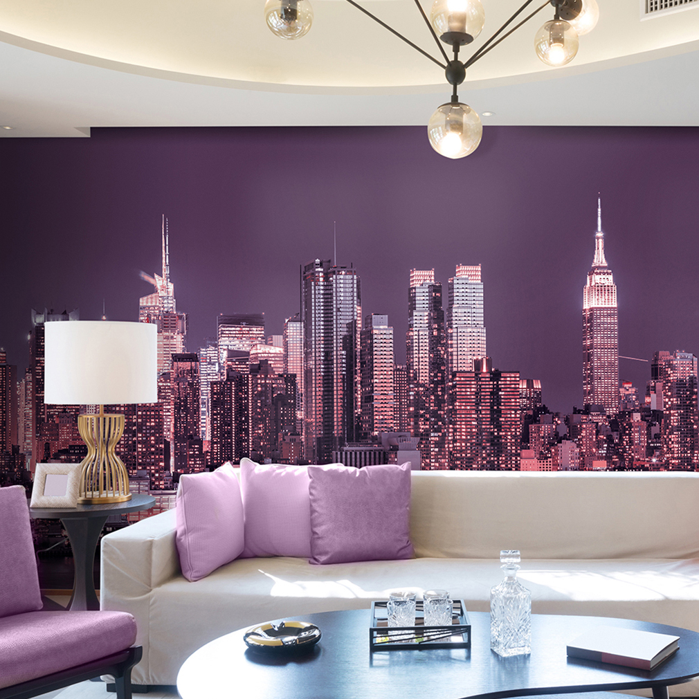 vlies fototapete new york skyline nacht blau tapete wandbilder wohzimmer 12farbe ebay. Black Bedroom Furniture Sets. Home Design Ideas
