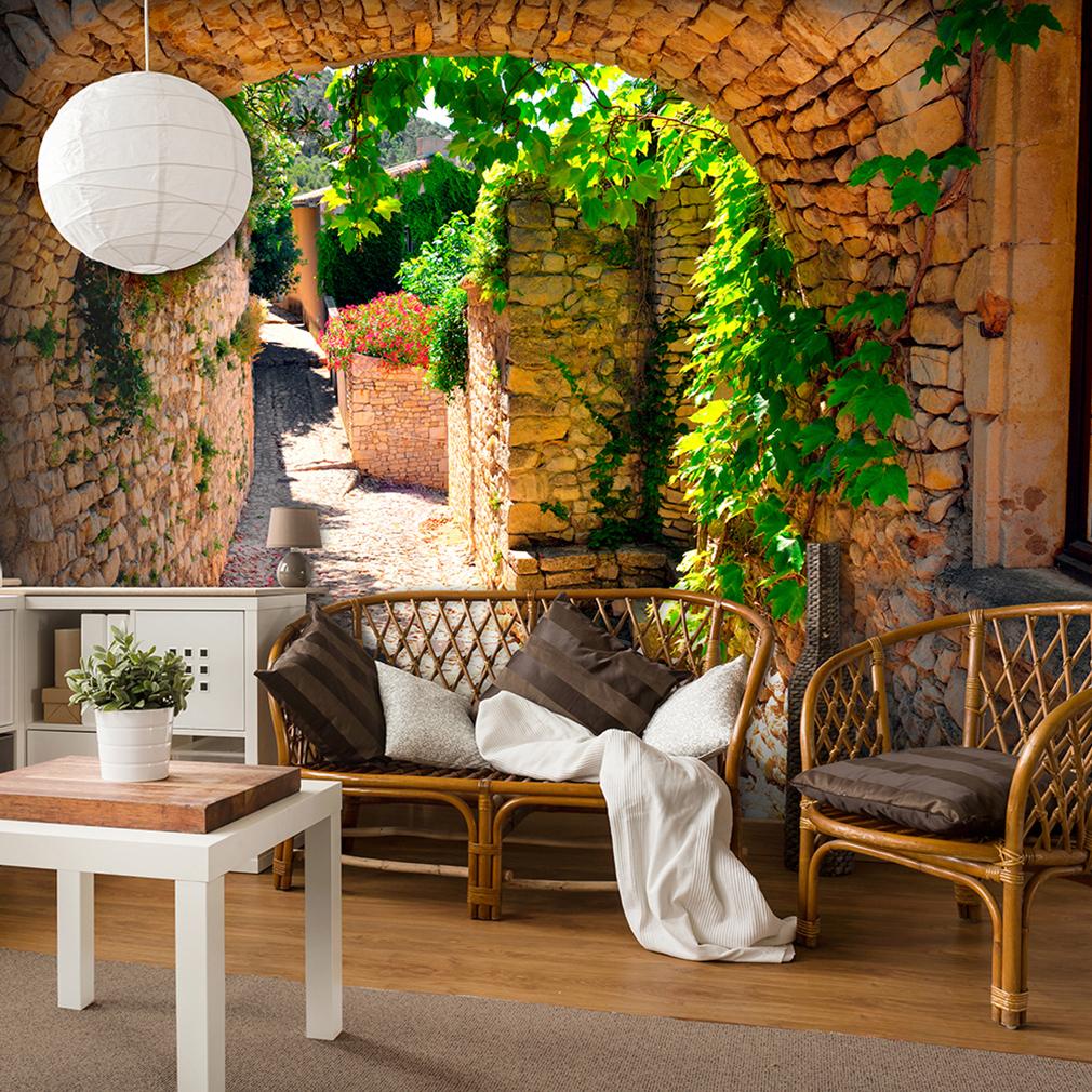 vlies fototapete stein tunnel natur gr n tapete wandbilder xxl wohnzimmer 118 ebay. Black Bedroom Furniture Sets. Home Design Ideas