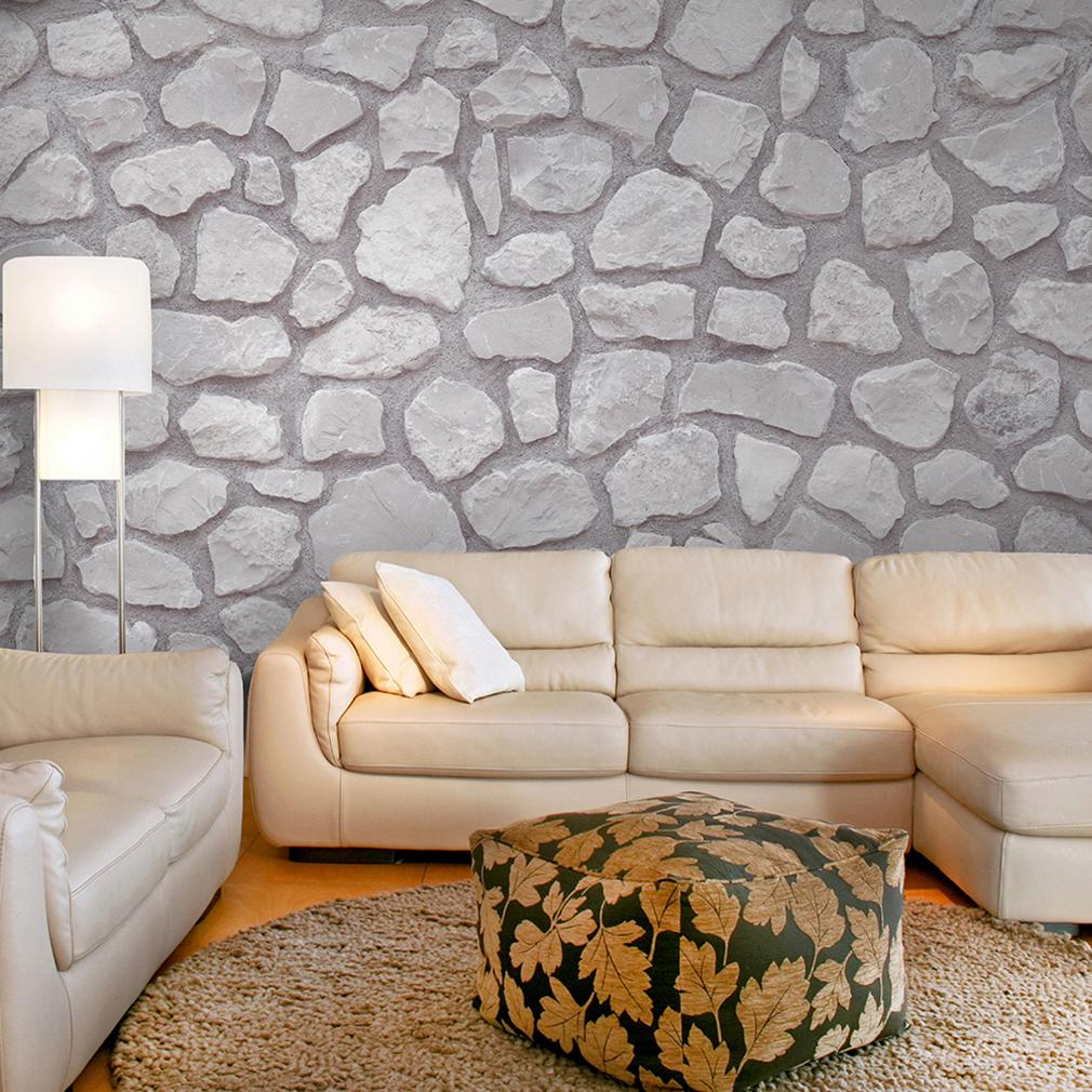 Vlies fototapete steinwand stein grau braun 3d tapete wandbilder xxl wohnzimmer ebay - Stein tapete wohnzimmer ...