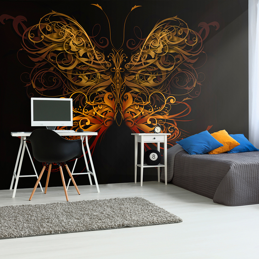 vlies fototapete schmetterling tattoo graffiti tapete wandbilder xxl wohnzimmer ebay. Black Bedroom Furniture Sets. Home Design Ideas