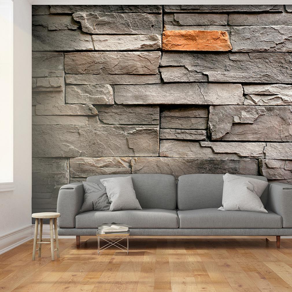 vlies fototapete stein optik steinwand grau ziegel tapete wohnzimmer wandbilder ebay. Black Bedroom Furniture Sets. Home Design Ideas