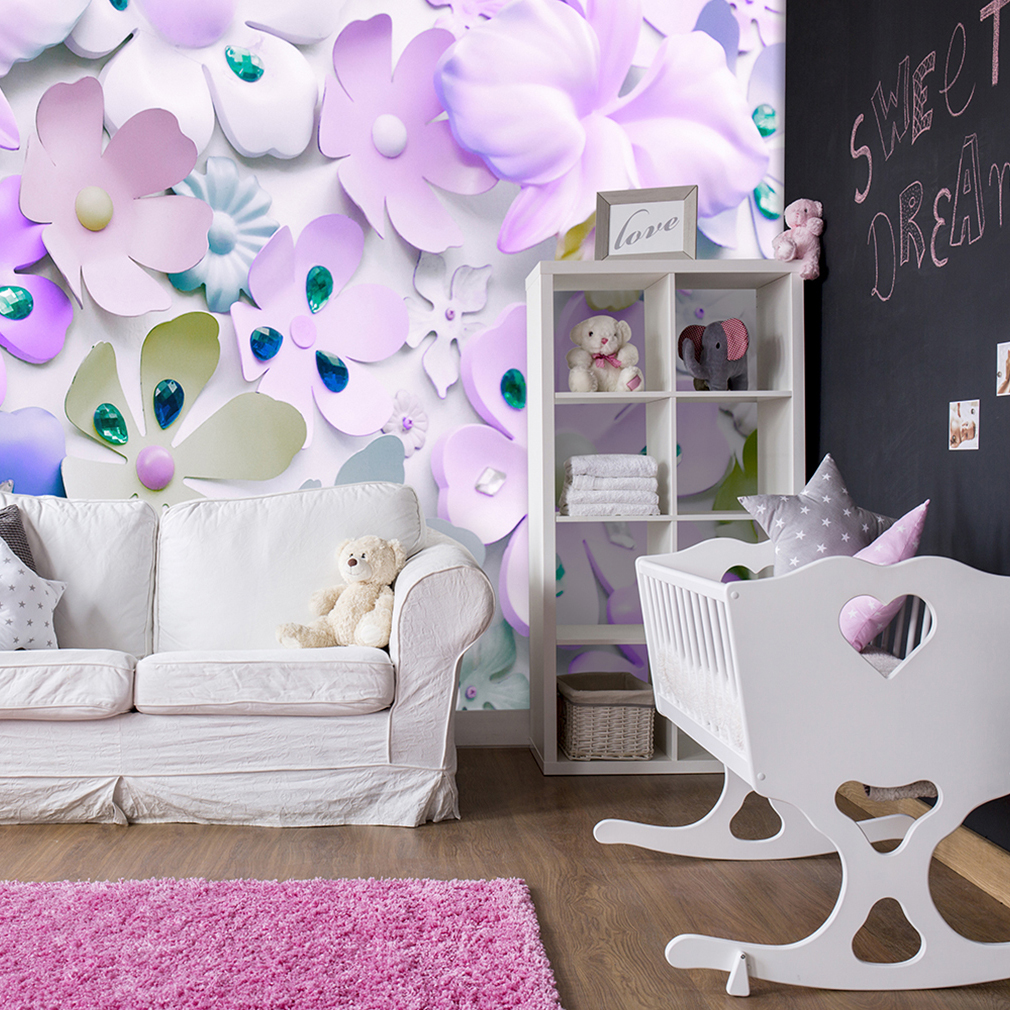 vlies fototapete 3d optik blumen pastell tapete kinderzimmer wandbilder xxl ebay. Black Bedroom Furniture Sets. Home Design Ideas