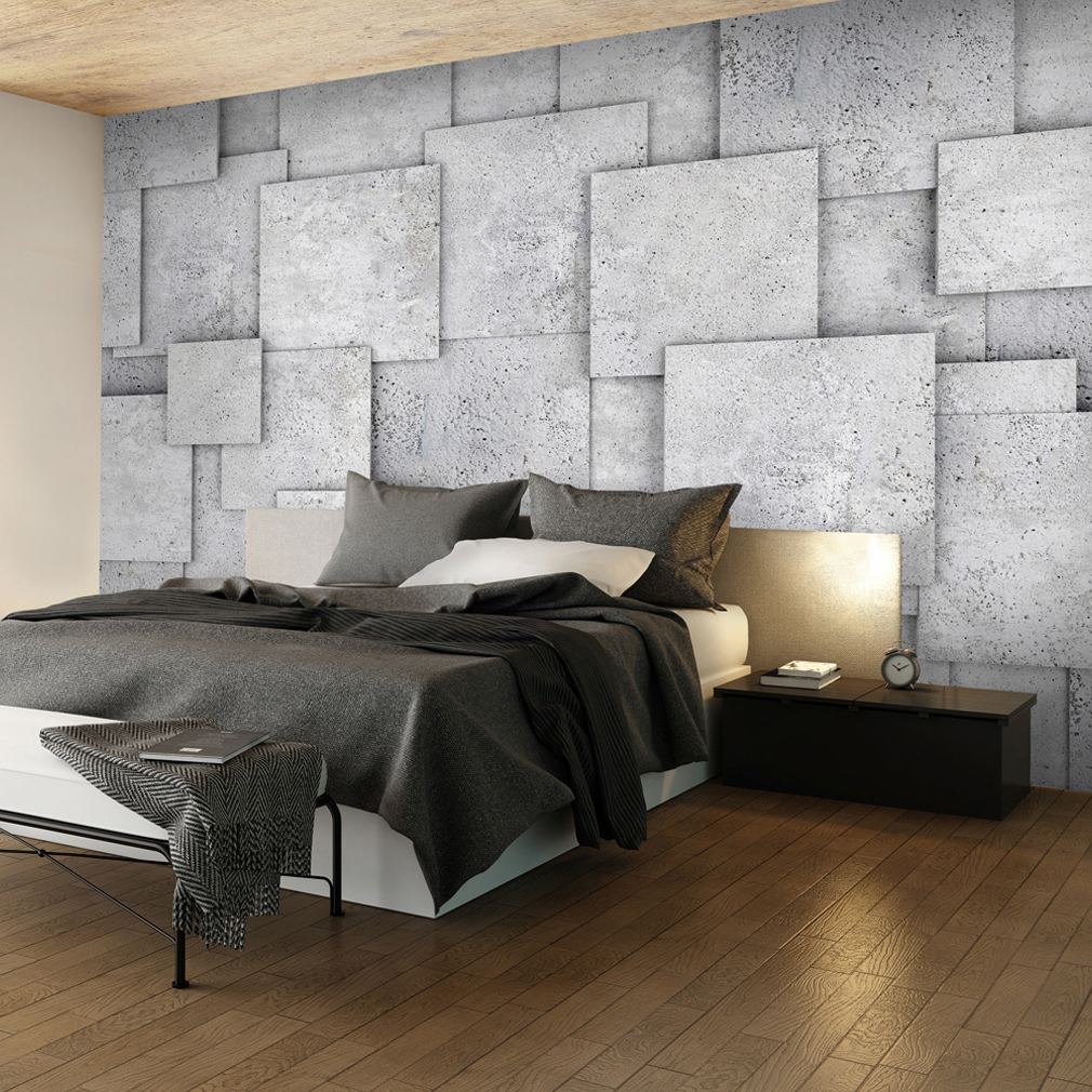 vlies fototapete stein effekt optik steinwand beton grau tapete tapeten wandbild ebay. Black Bedroom Furniture Sets. Home Design Ideas
