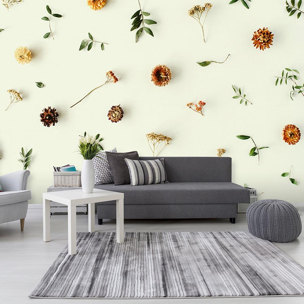 Vlies fototapete 3d effekt blumen beige cremig tapete for Wandbilder wohnzimmer