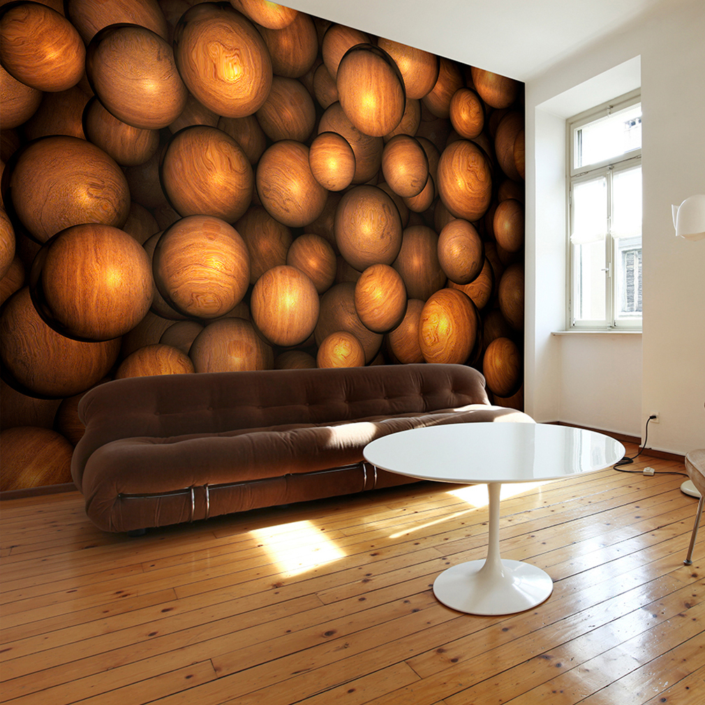 vlies fototapete 3d kugeln holz braun tapeten wohnzimmer wandbilder xxl 3farb ebay. Black Bedroom Furniture Sets. Home Design Ideas