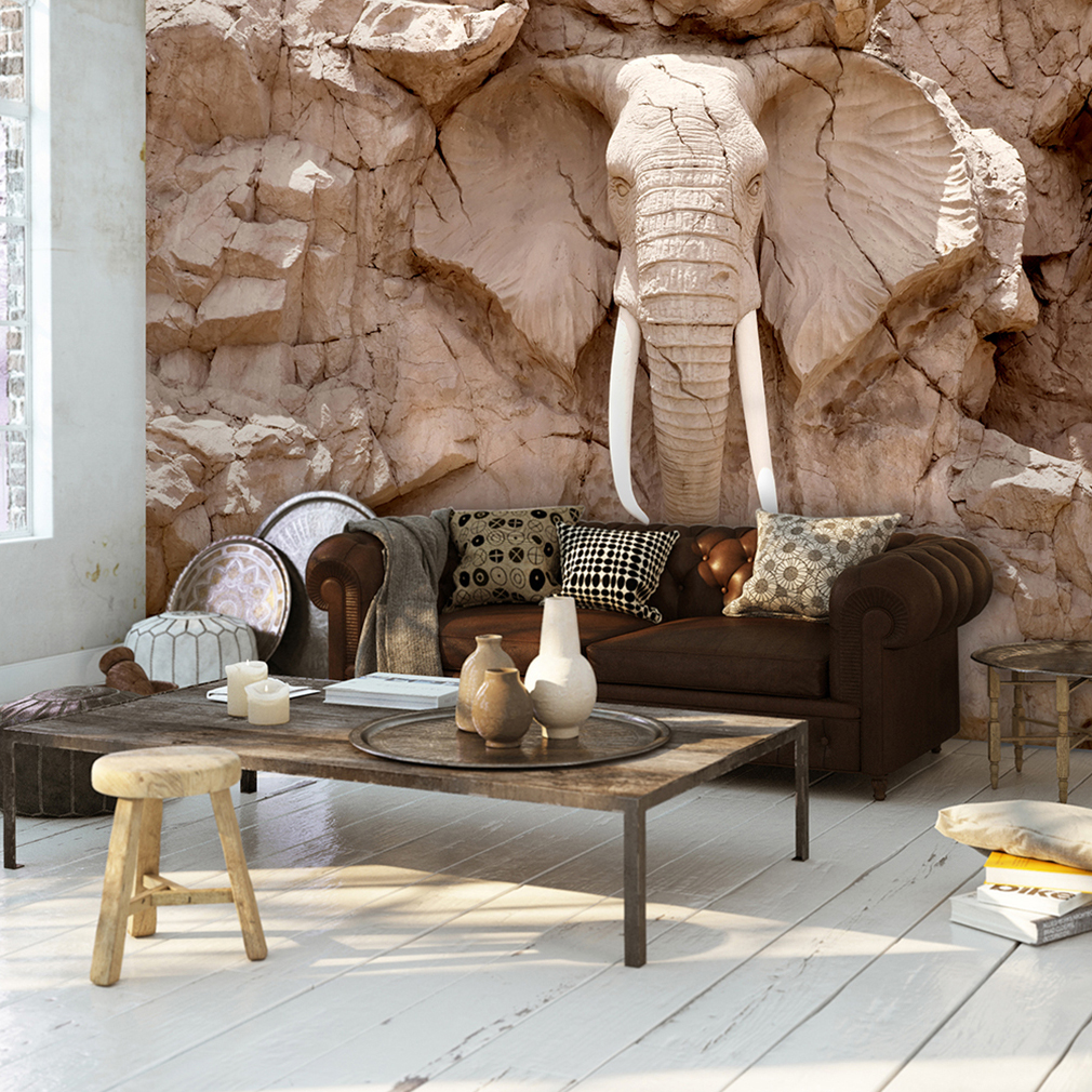 vlies fototapete steinoptik skulptur elefant relief afrika. Black Bedroom Furniture Sets. Home Design Ideas