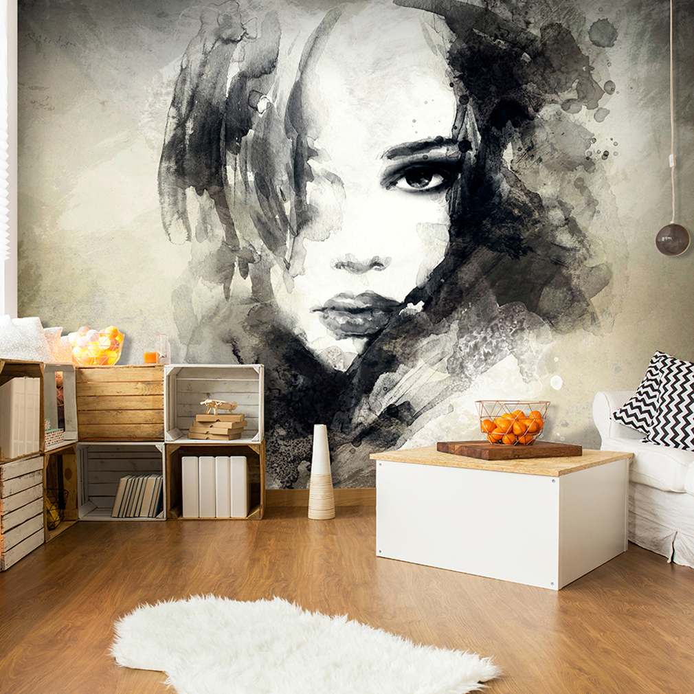vlies fototapete aquarell frau tapete tapeten schlafzimmer wandbild xxl fob0200 ebay. Black Bedroom Furniture Sets. Home Design Ideas