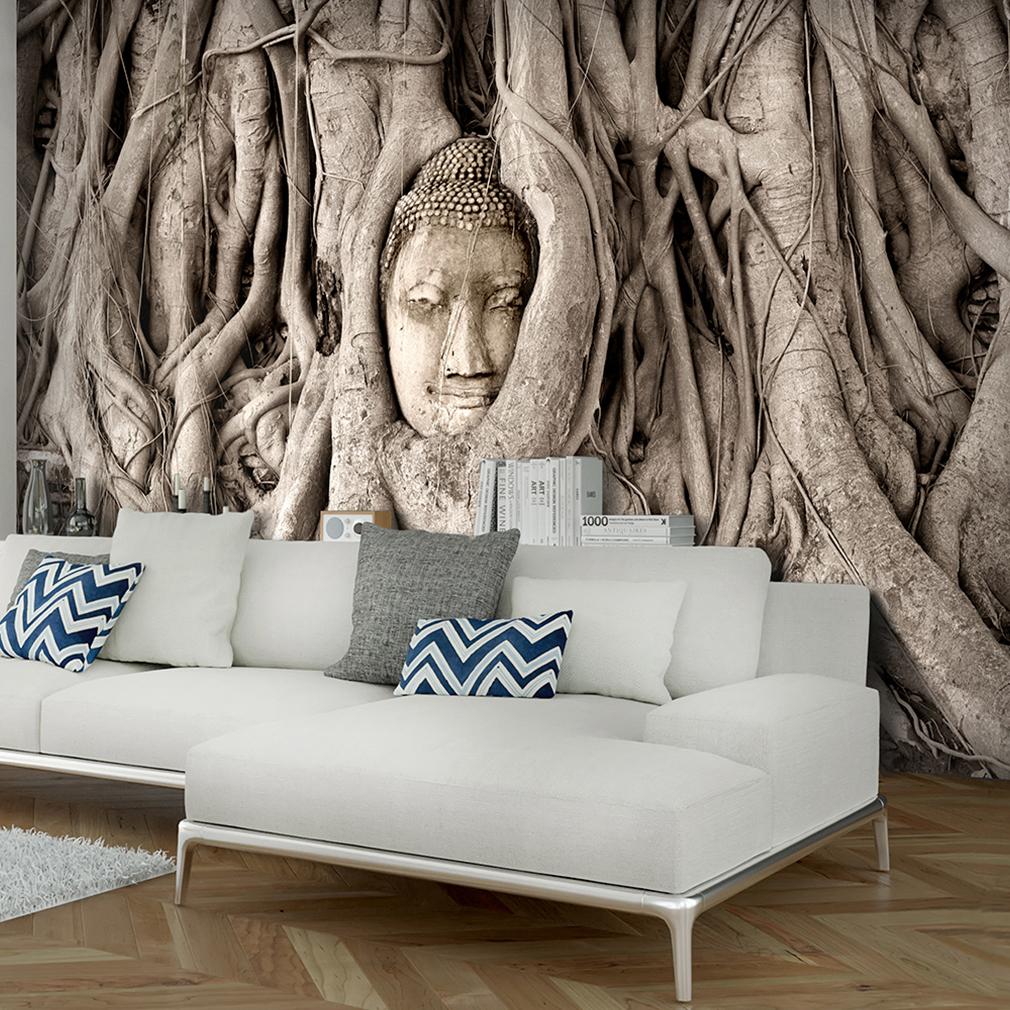 VLIES FOTOTAPETE Buddha Baum braun Natur Asian TAPETE Wohnzimmer ...