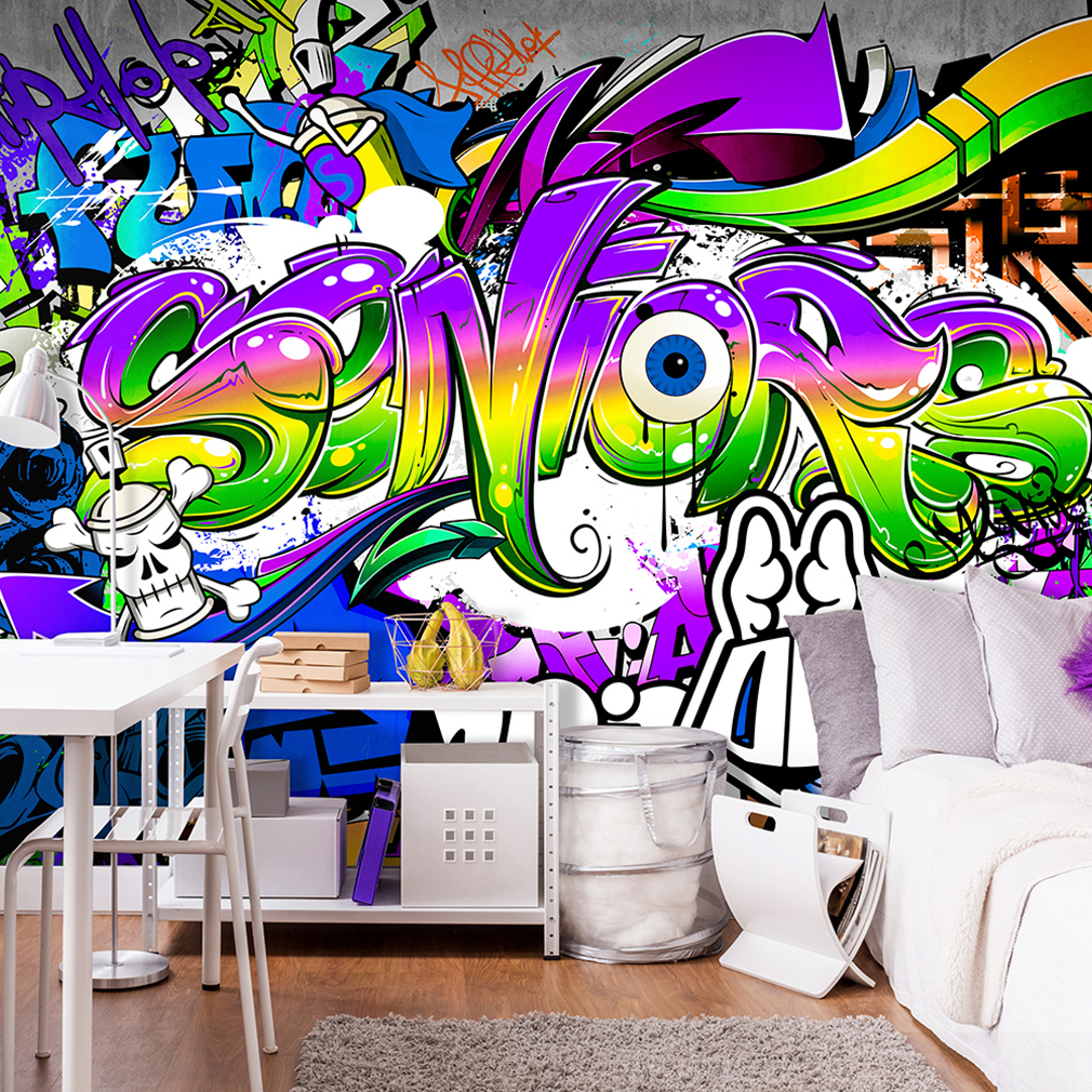 vlies fototapete graffiti bunt steinwand tapete tapeten. Black Bedroom Furniture Sets. Home Design Ideas