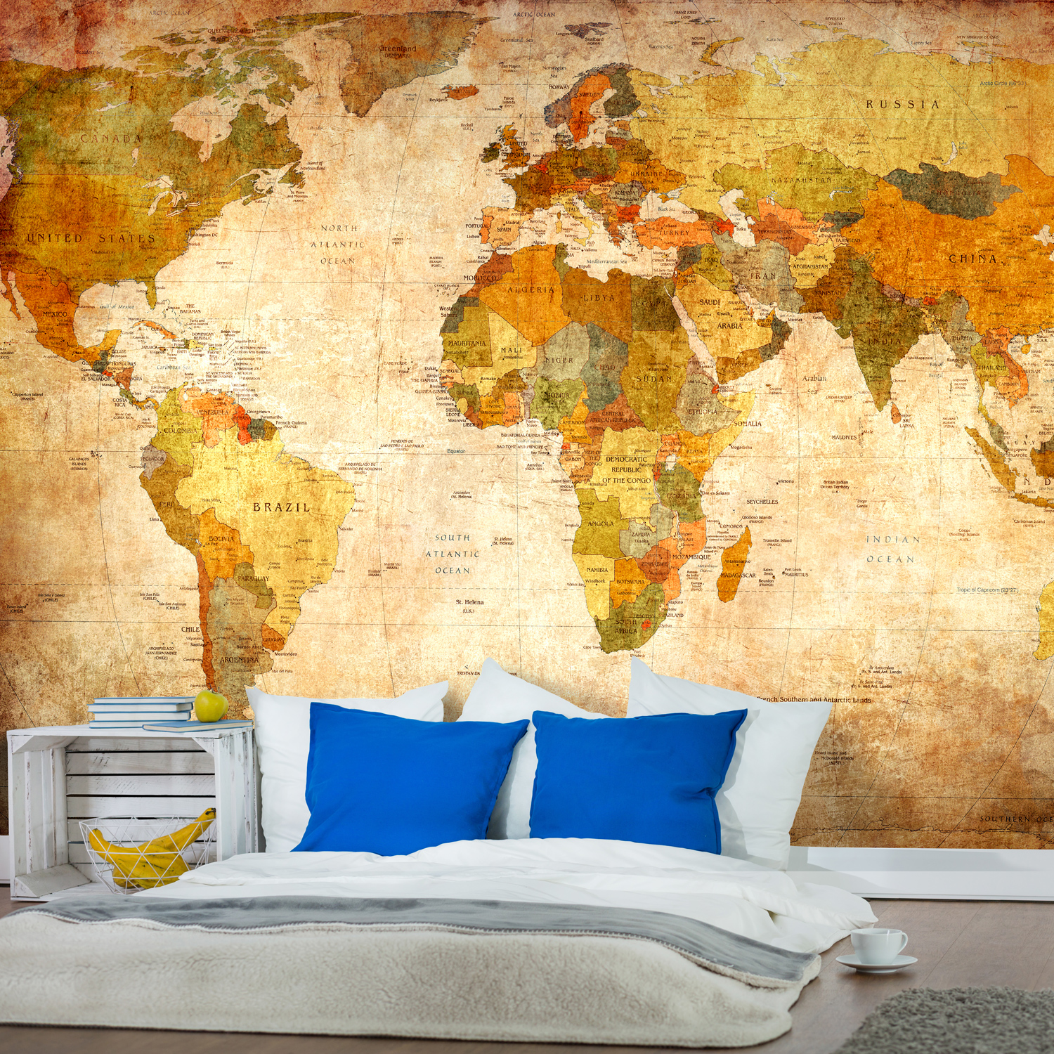 vlies fototapete weltkarte landkarte vintage retr antik welt map tapete wandbild ebay. Black Bedroom Furniture Sets. Home Design Ideas