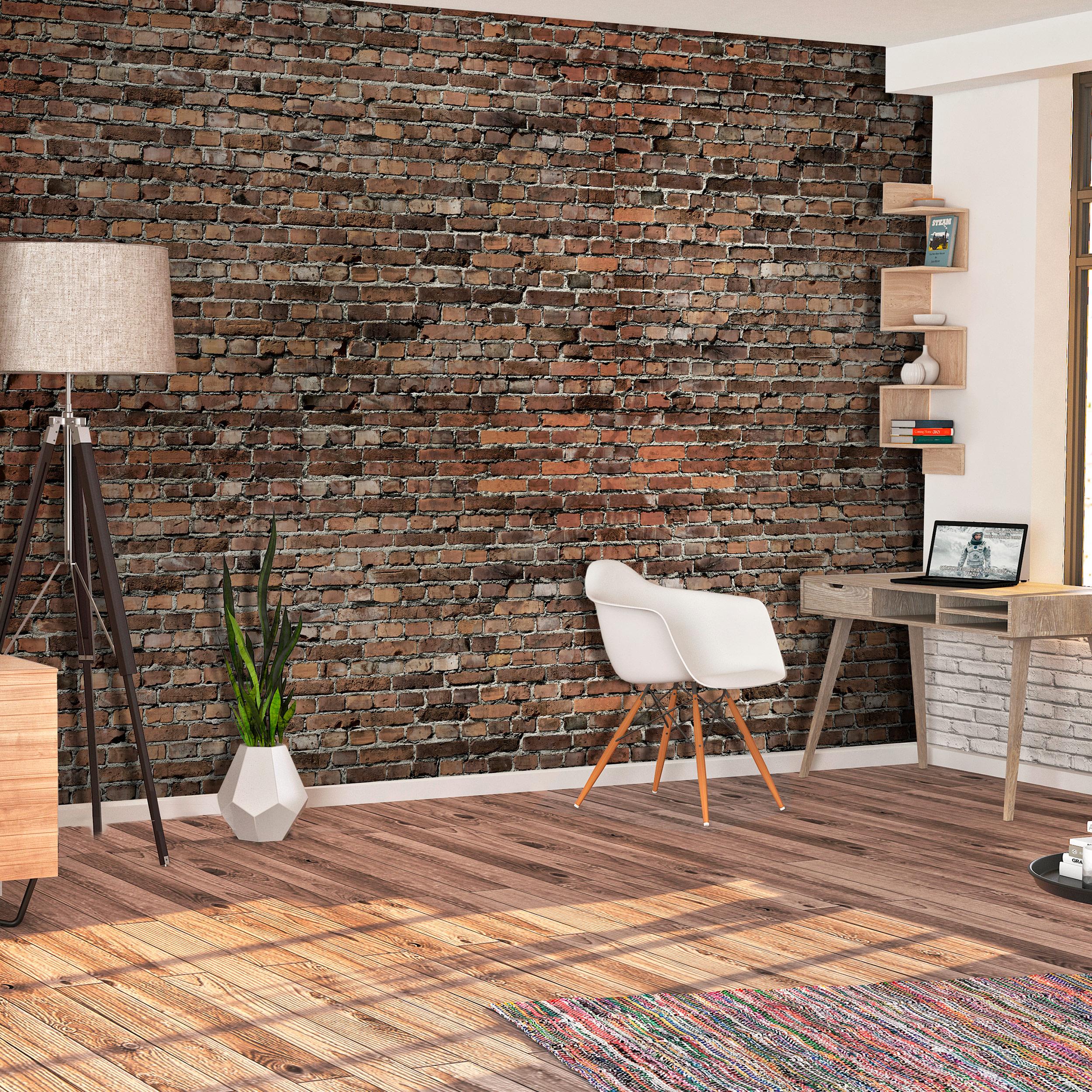 Vlies fototapete stein ziegelsteine rot braun ziegel 3d for Stein tapete wohnzimmer